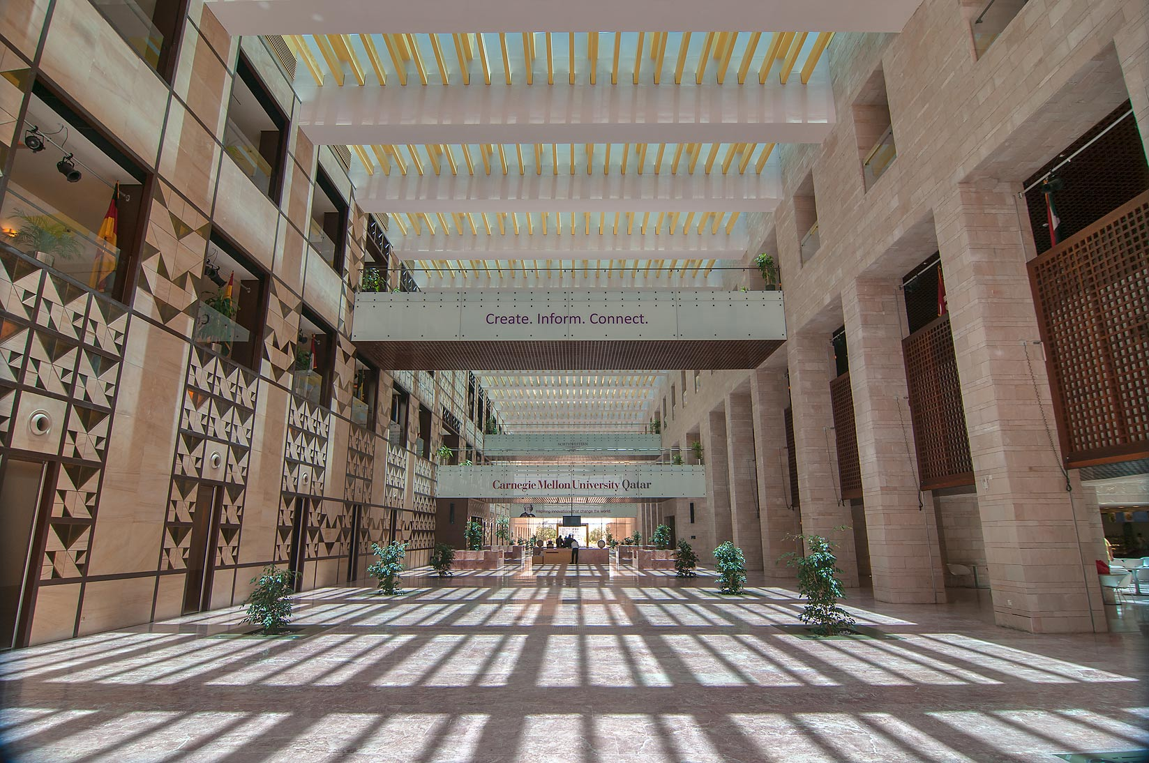 Entrance Hall of Carnegie Mellon University in Education City campus. Doha, Qatar