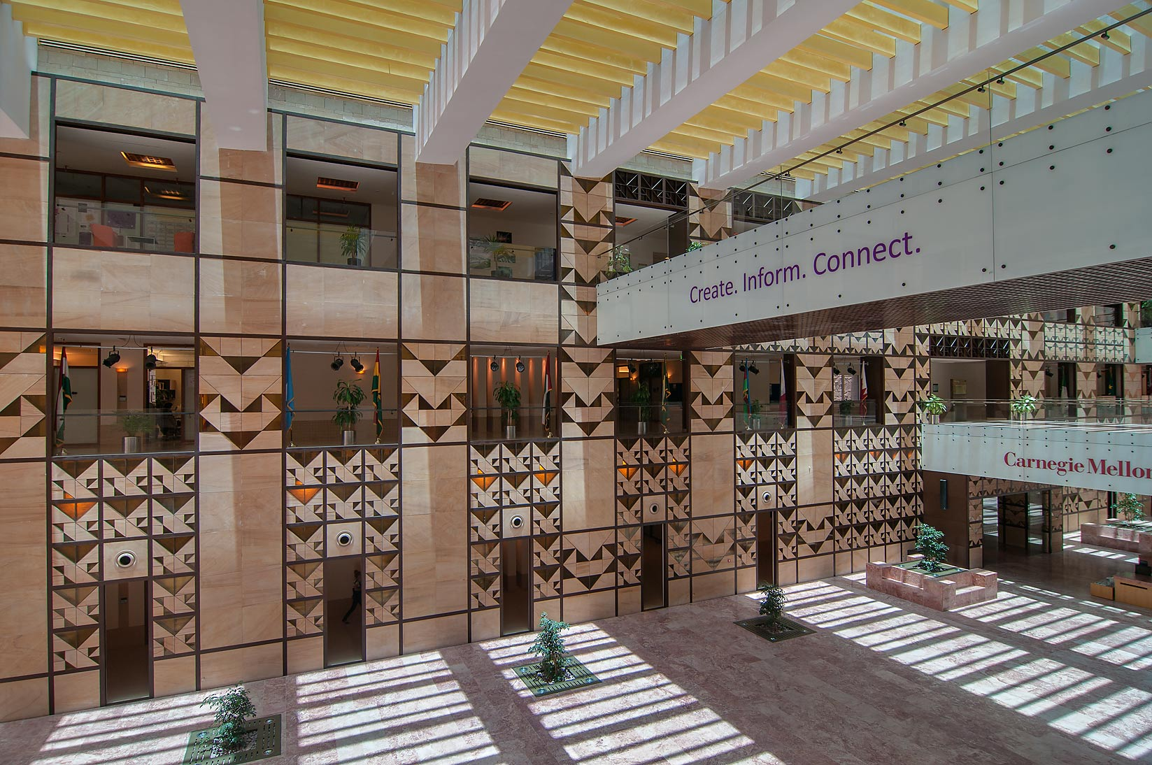 View of entrance lobby from first floor of...in Education City campus. Doha, Qatar