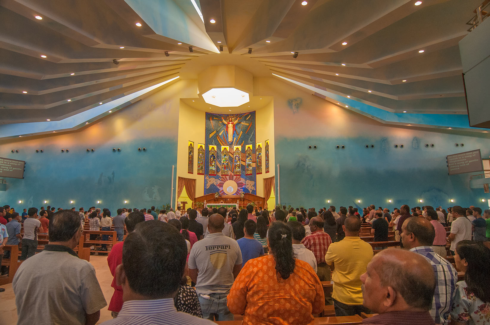 Morning mass in Our Lady of Rosary Catholic Church in Abu Hamour. Doha, Qatar