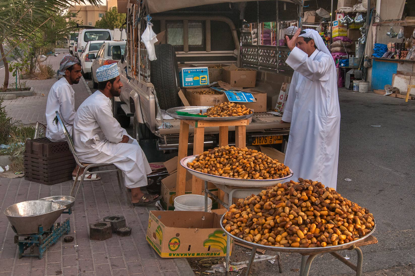 Selling dates near Omani Market in Abu Hamour. Doha, Qatar