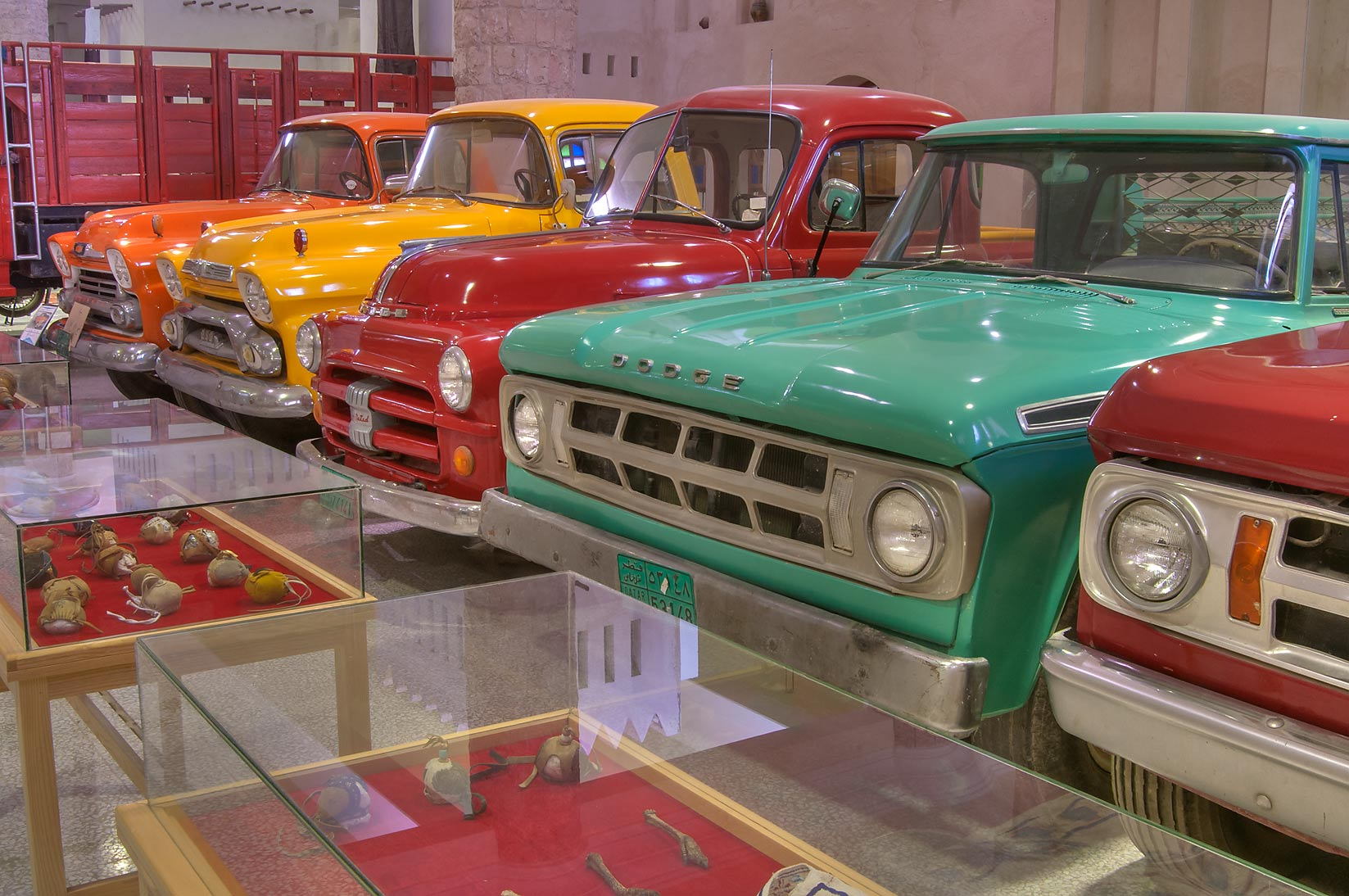 Vintage Ford cars of different colors in Sheikh...Museum near Al-Shahaniya. Doha, Qatar