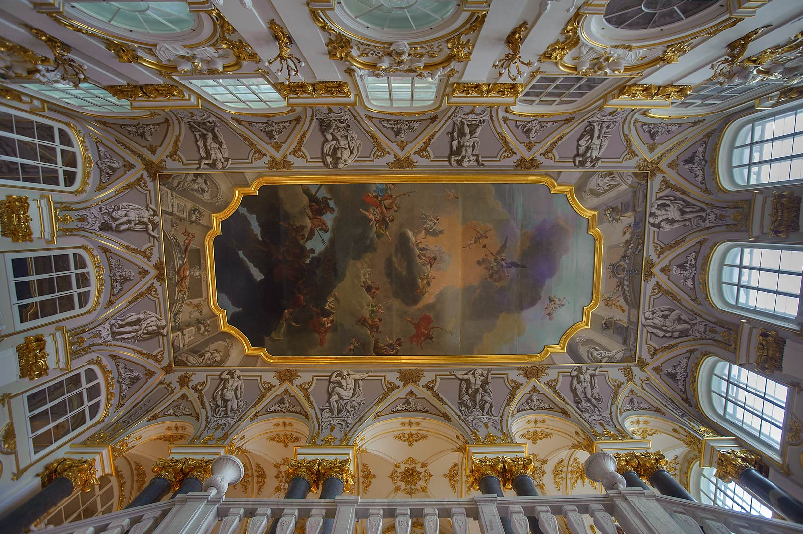 Plafond over grand staircase in Hermitage Museum. Petersburg, Russia