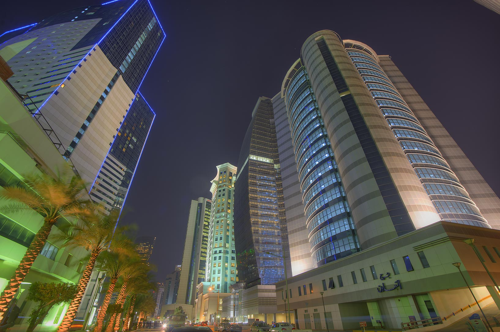 Street in West Bay near Ezdan Hotel. Doha, Qatar