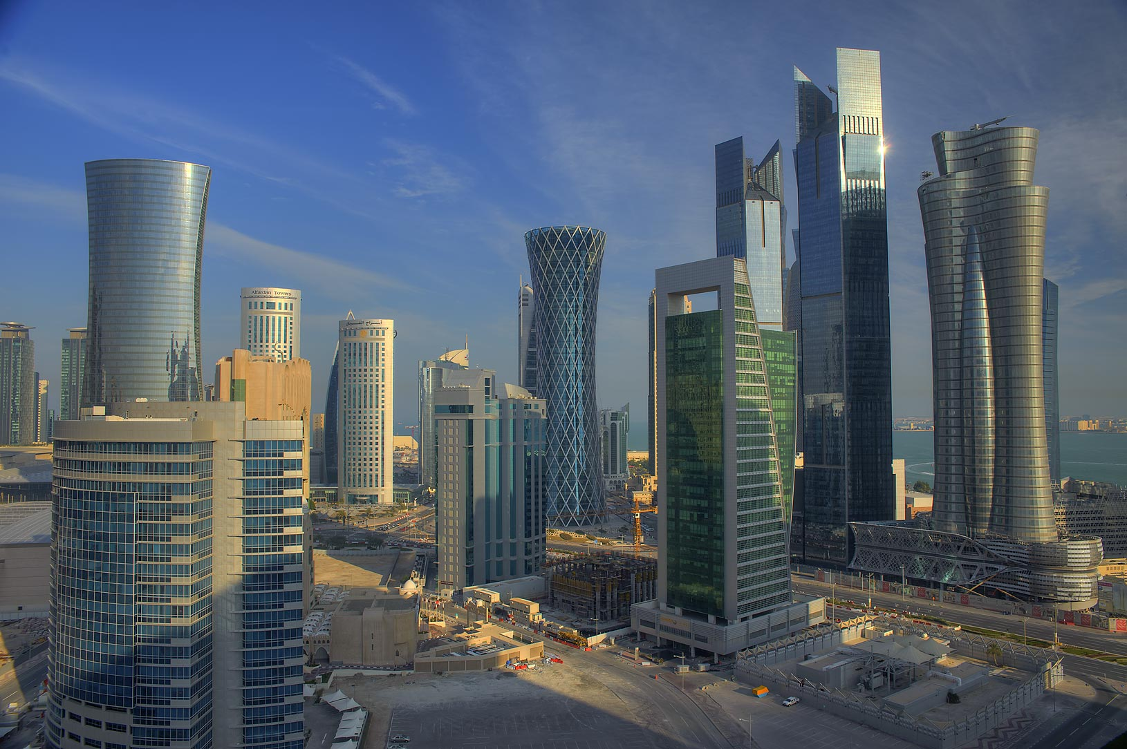 Towers of West Bay from Room 1703 of Dareen Tower. Doha, Qatar