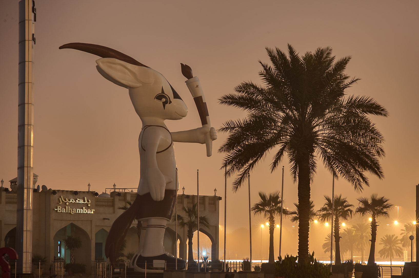 Orry the Oryx (mascot of the 15th Asian Games) statue on Corniche Promenade. Doha, Qatar