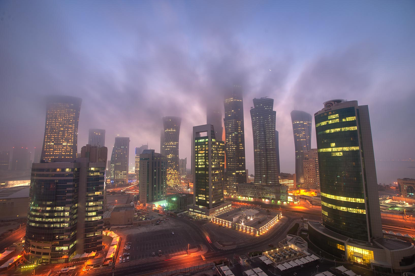 Moving mist in West Bay from Room 1703 of Dareen Tower. Doha, Qatar