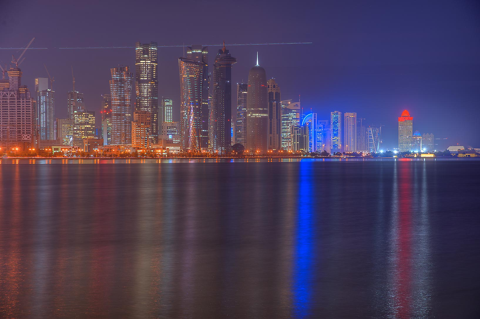 Area of West Bay from Corniche Promenade at morning. Doha, Qatar