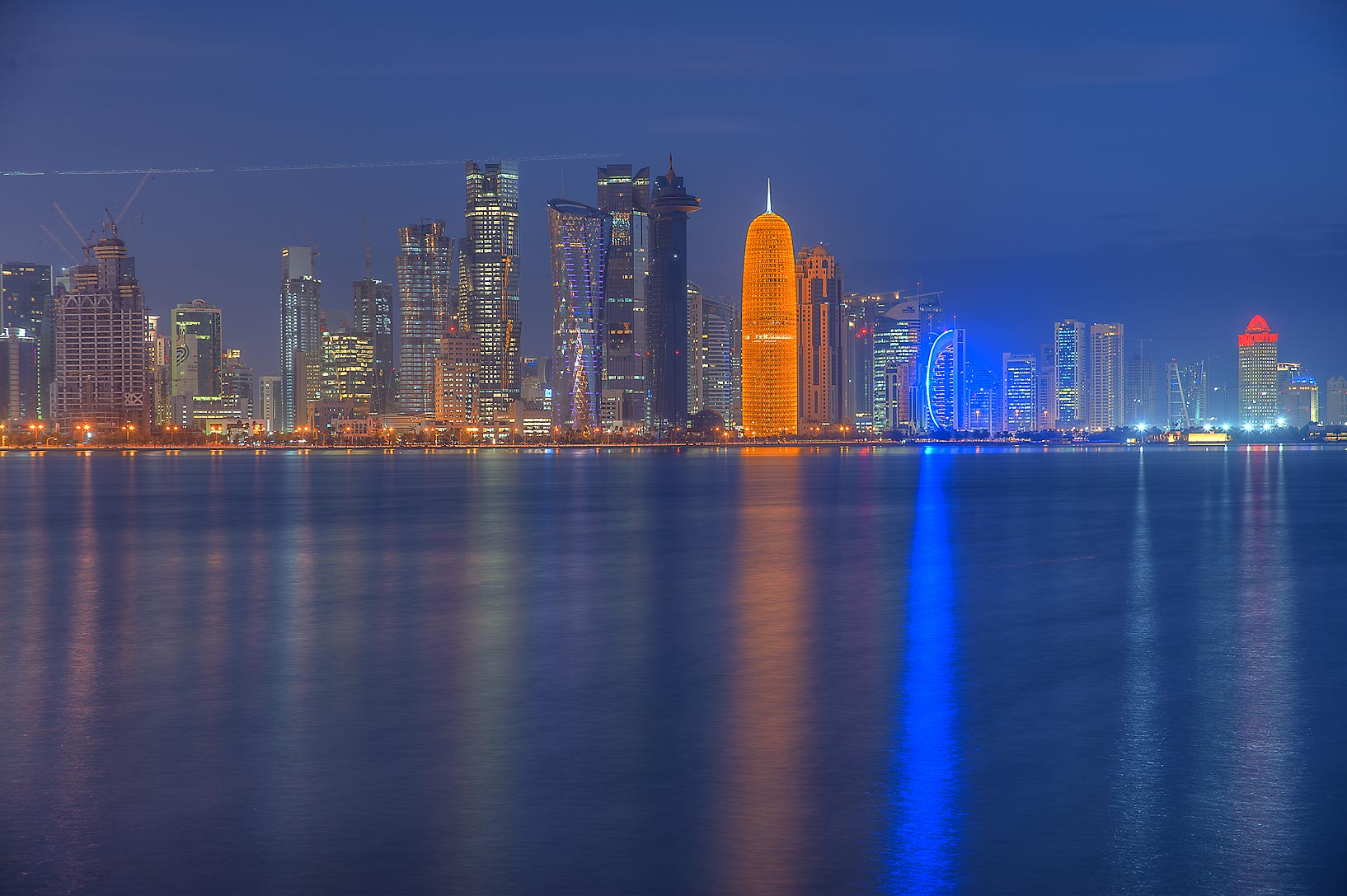 Area of Burj Qatar Tower in West Bay from Corniche Promenade at morning. Doha, Qatar