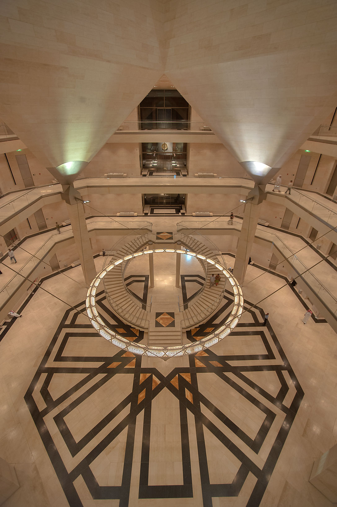 Atrium of Museum of Islamic Art, view from 4-th floor. Doha, Qatar