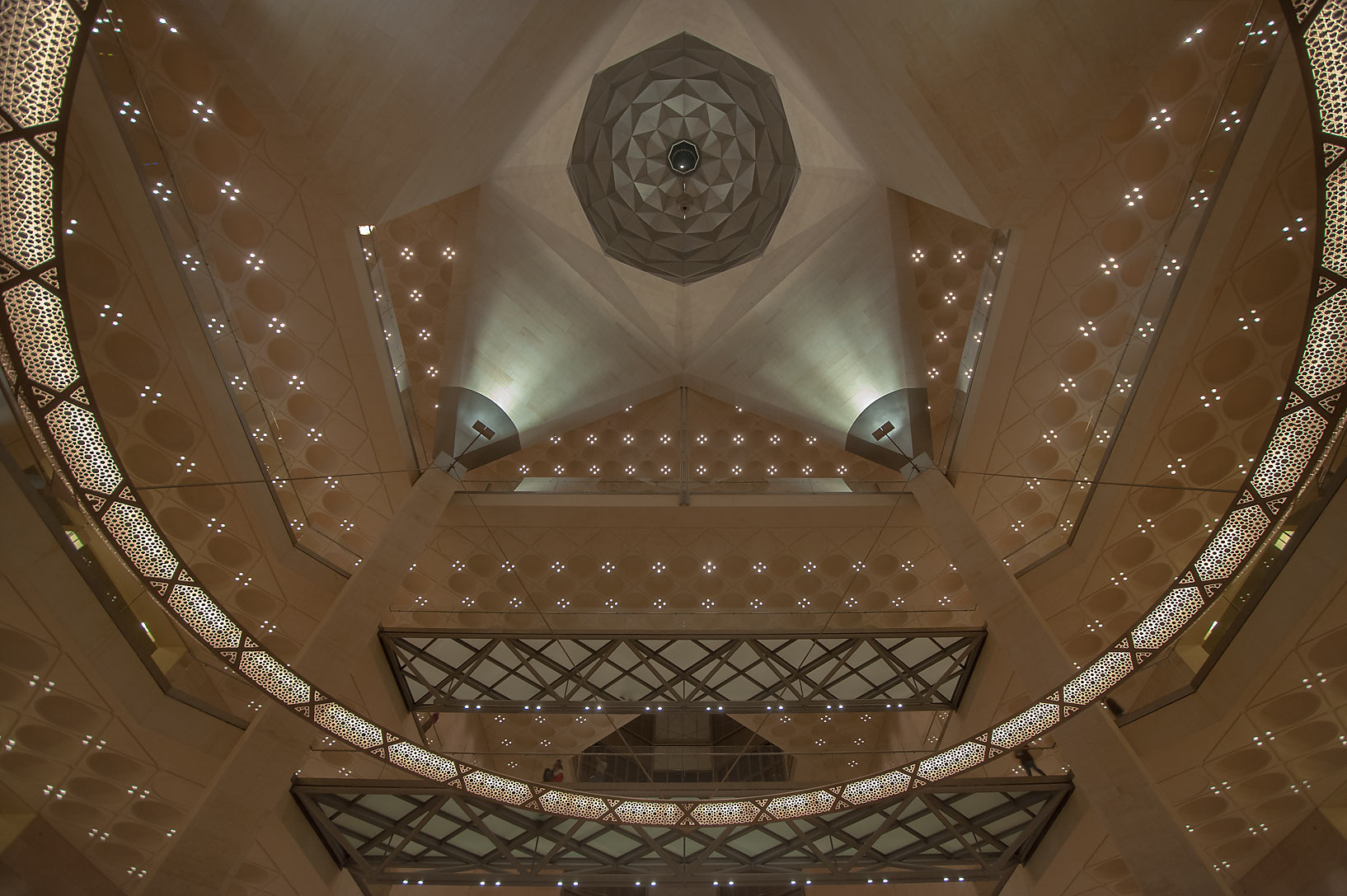 Perforated chandelier and ceiling of Museum of Islamic Art. Doha, Qatar