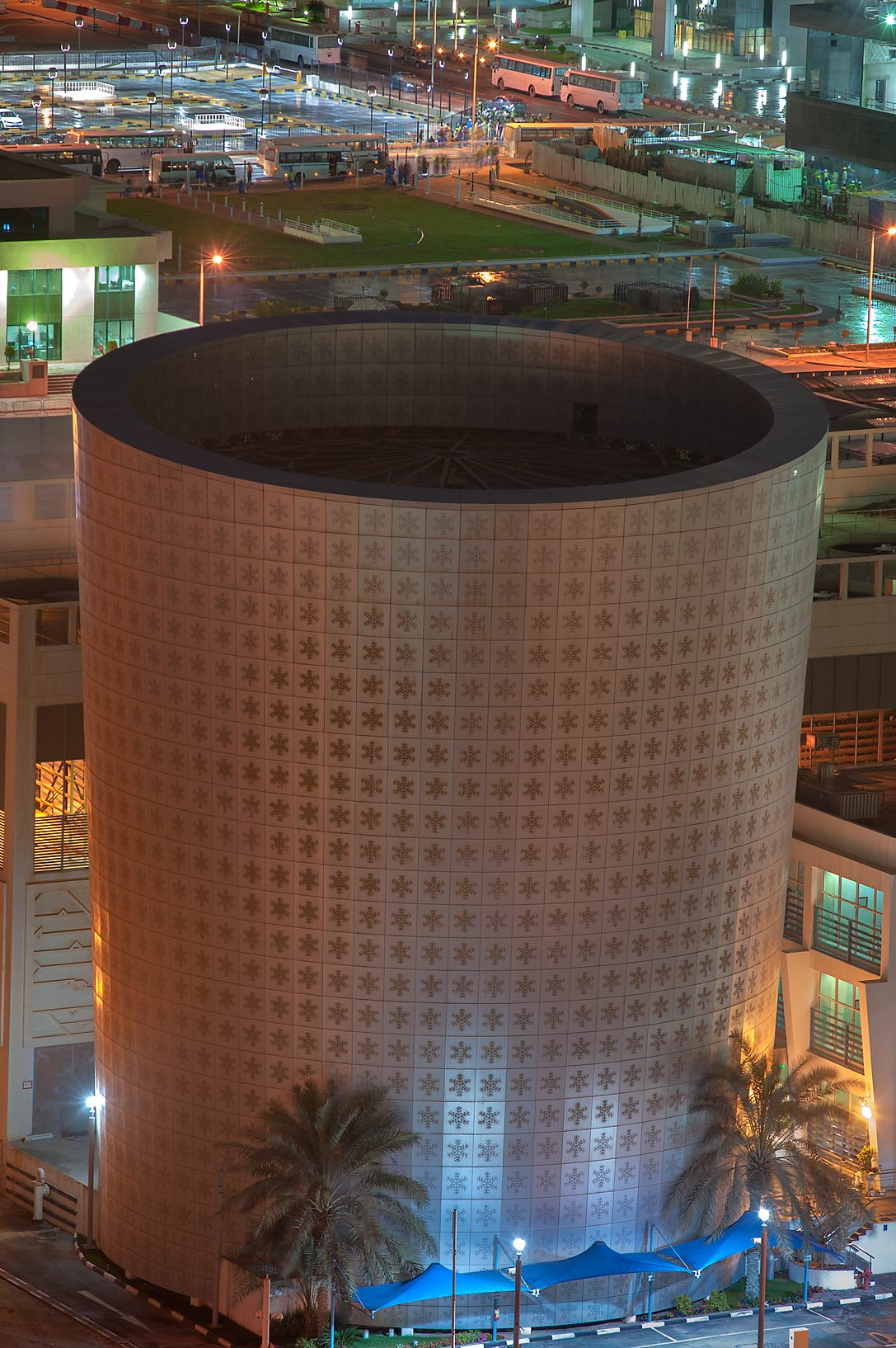 Cooling utility plant from a balcony of Room 1703 of Dareen Tower. Doha, Qatar