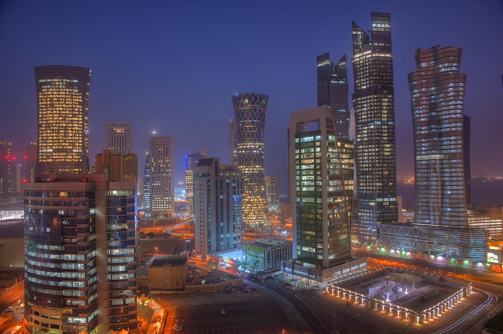 Cityscape in West Bay in morning dusk from a...Room 1703 of Dareen Tower. Doha, Qatar