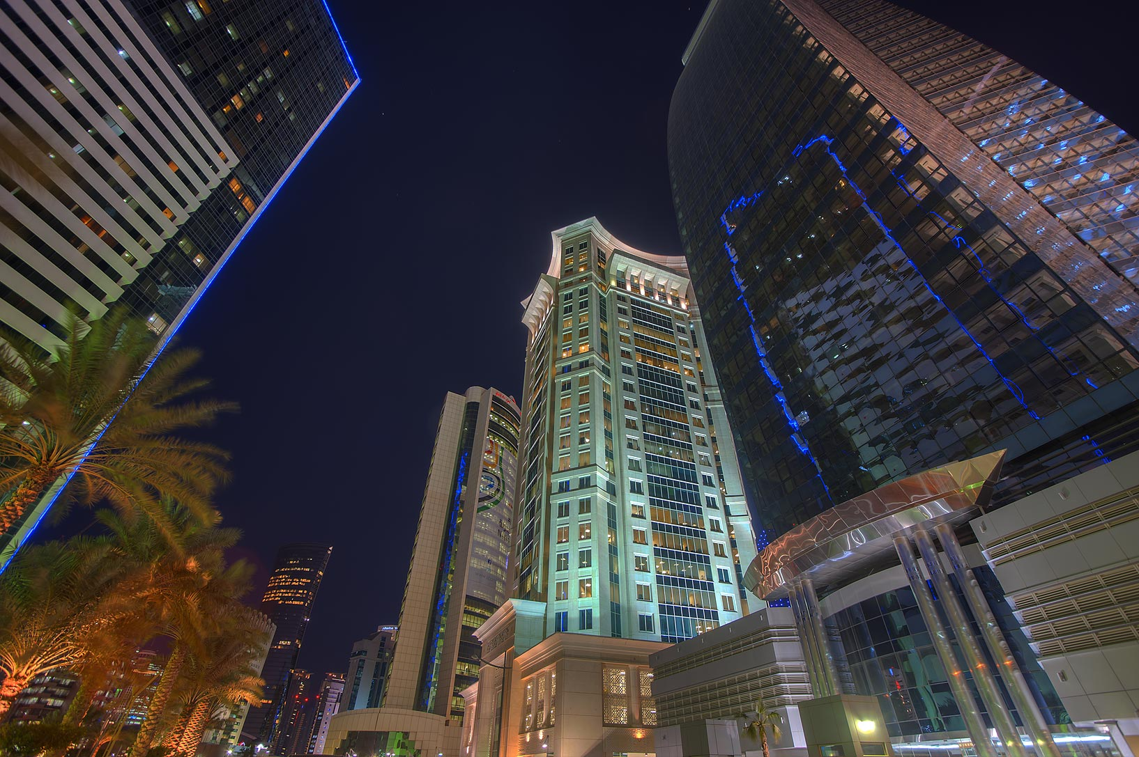 Area ofAl Qassar Tower at Al Betra St. in West Bay. Doha, Qatar