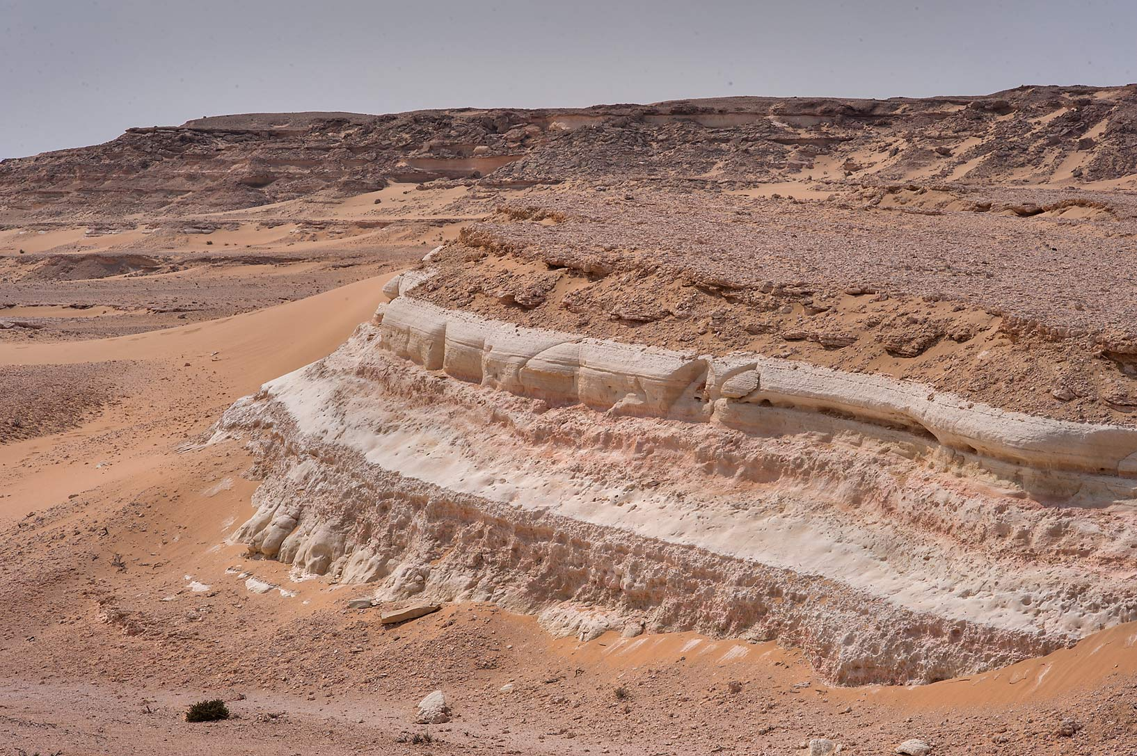 Stratified layers of limestone and Miocene...Jebel Al-Nakhsh in south-western Qatar