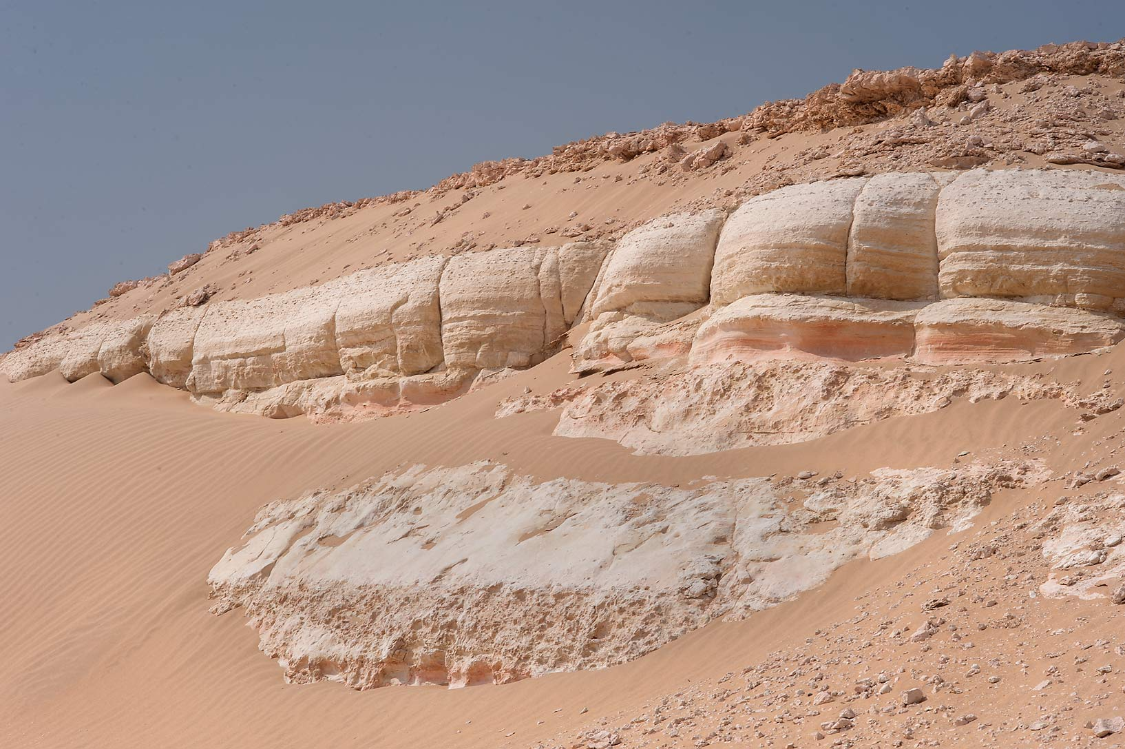 Layers of Miocene Dam Formation in area of Jebel Al-Nakhsh in south-western Qatar