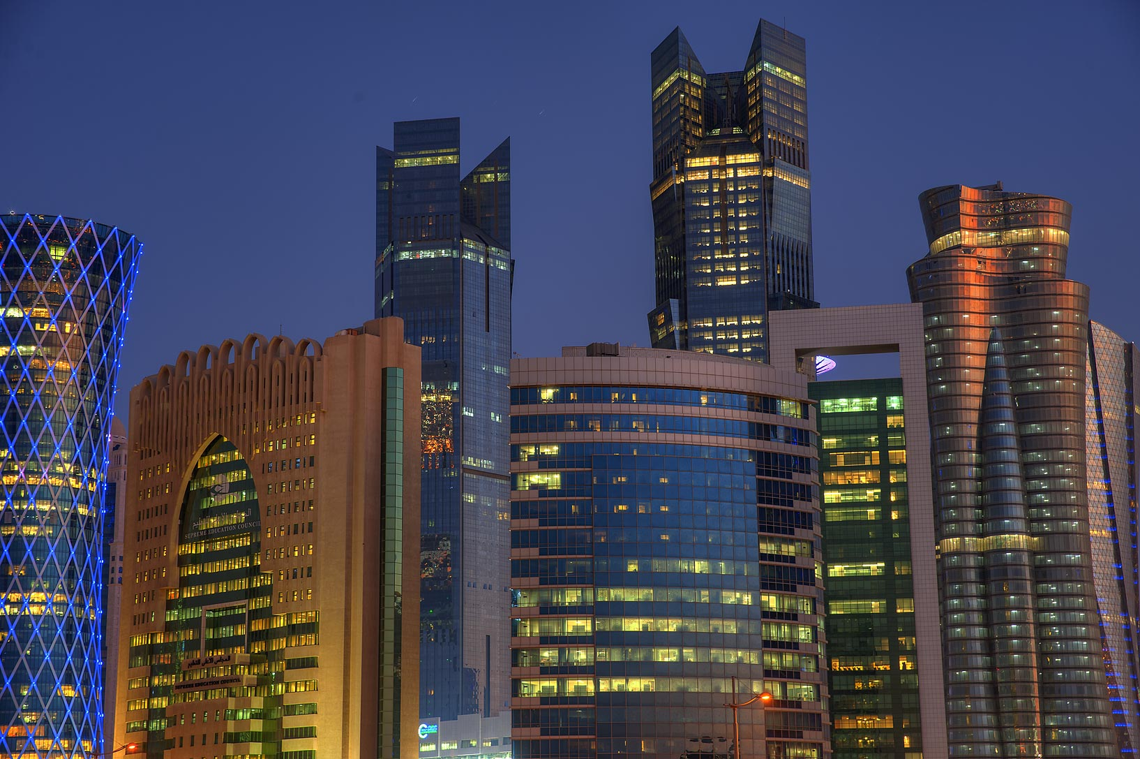 Towers of West Bay at evening. Doha, Qatar