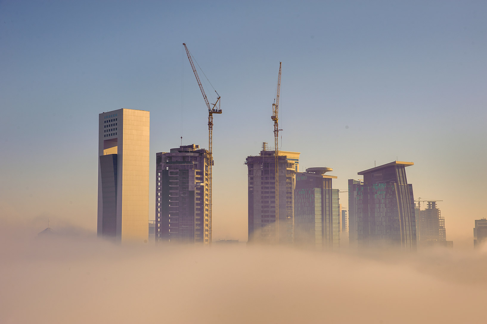 West Bay in fog from Room 1703 of Dareen Tower. Doha, Qatar