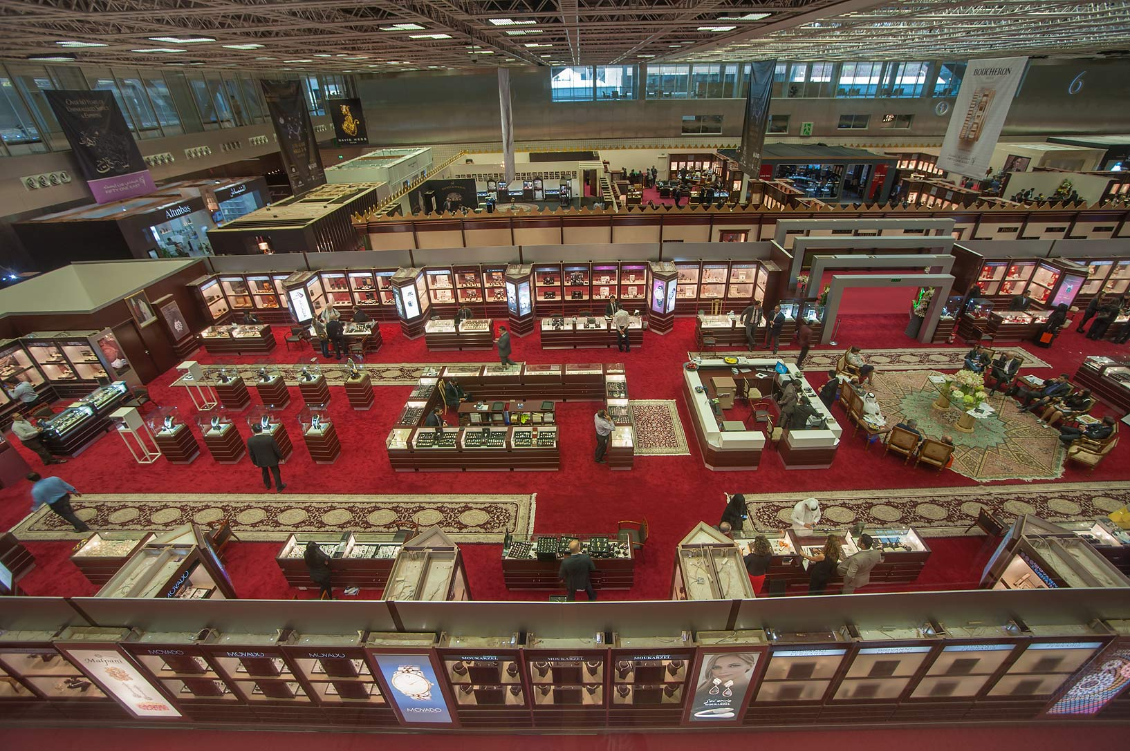 Stands of jewelry show in National Convention...from the second floor. Doha, Qatar