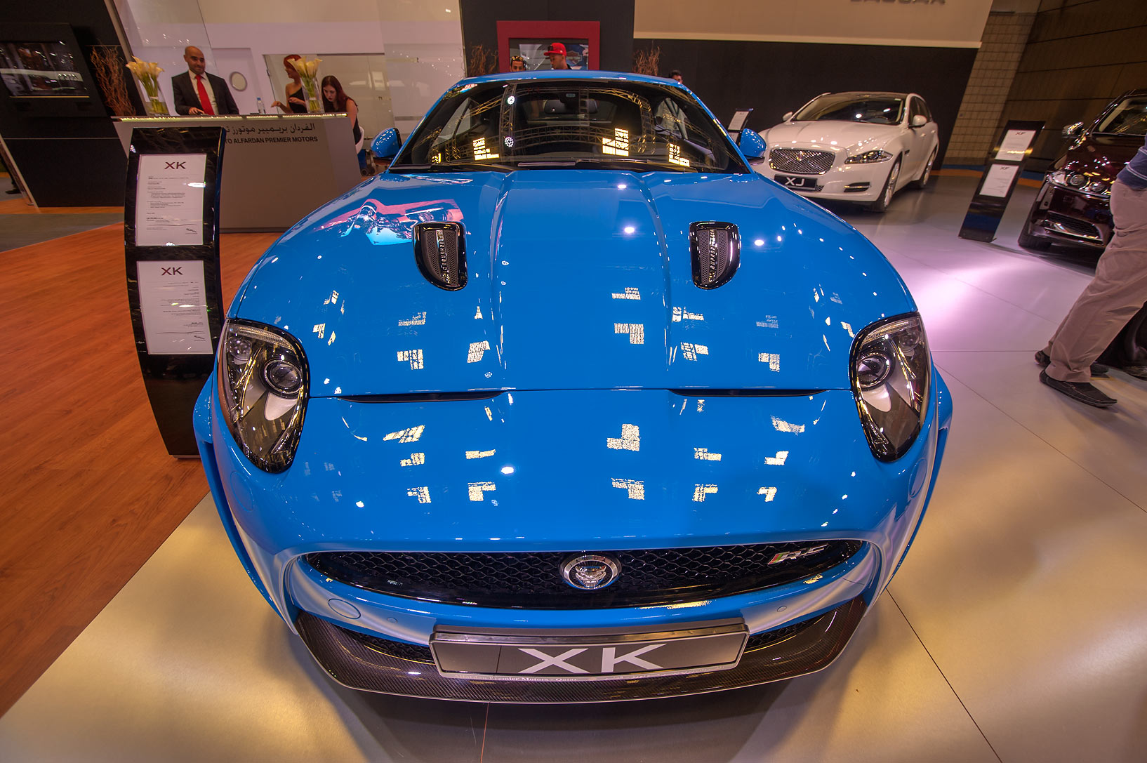 Blue Jaguar XK car on motor show in National Convention Centre. Doha, Qatar