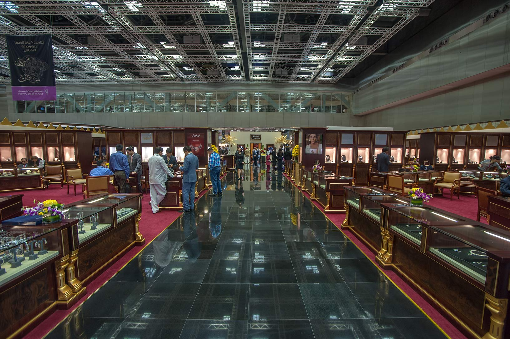 Dark corridor at jewelry show in National Convention Centre. Doha, Qatar