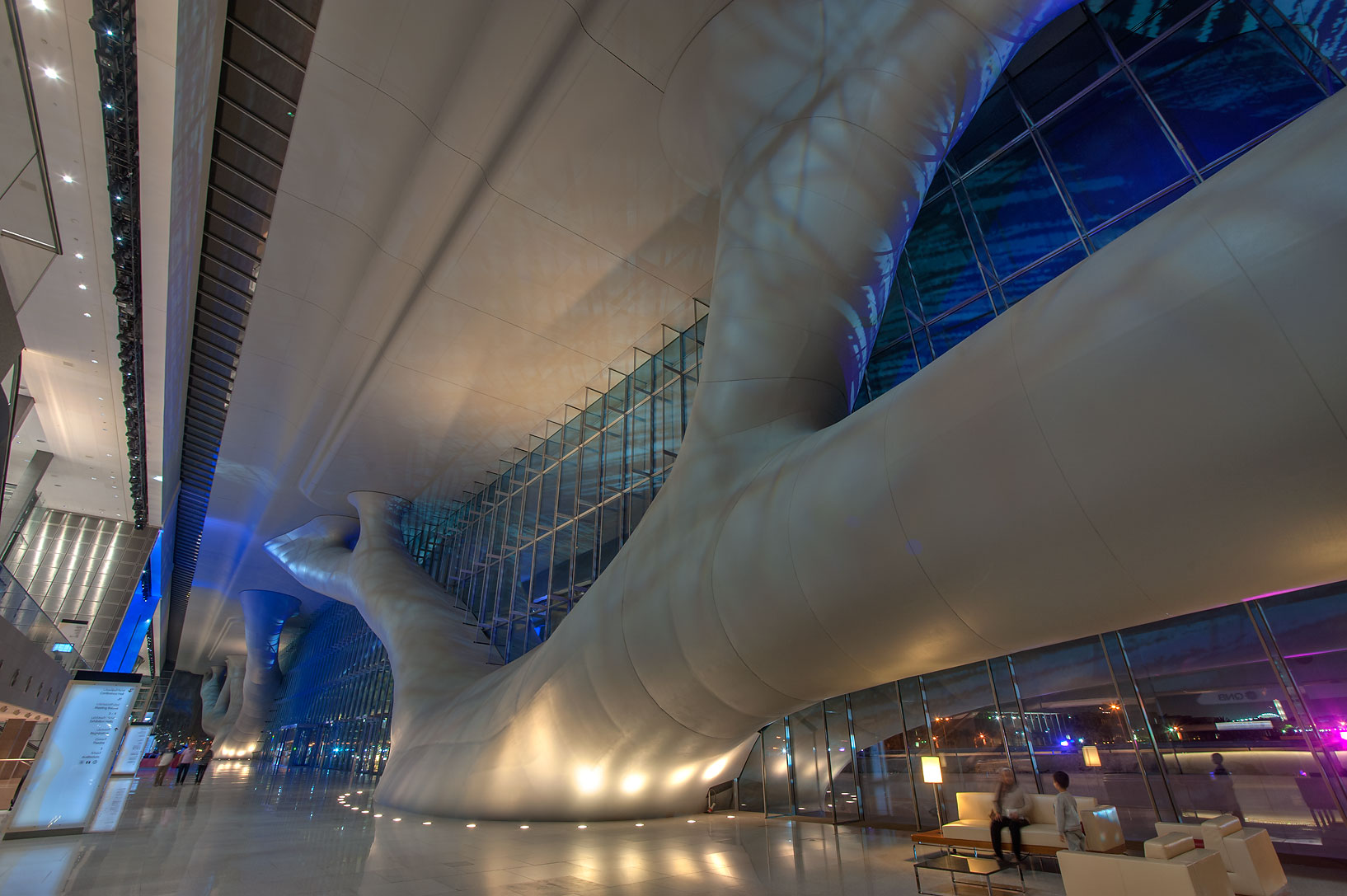 Entrance of National Convention Centre (QNCC...supporting the roof. Doha, Qatar