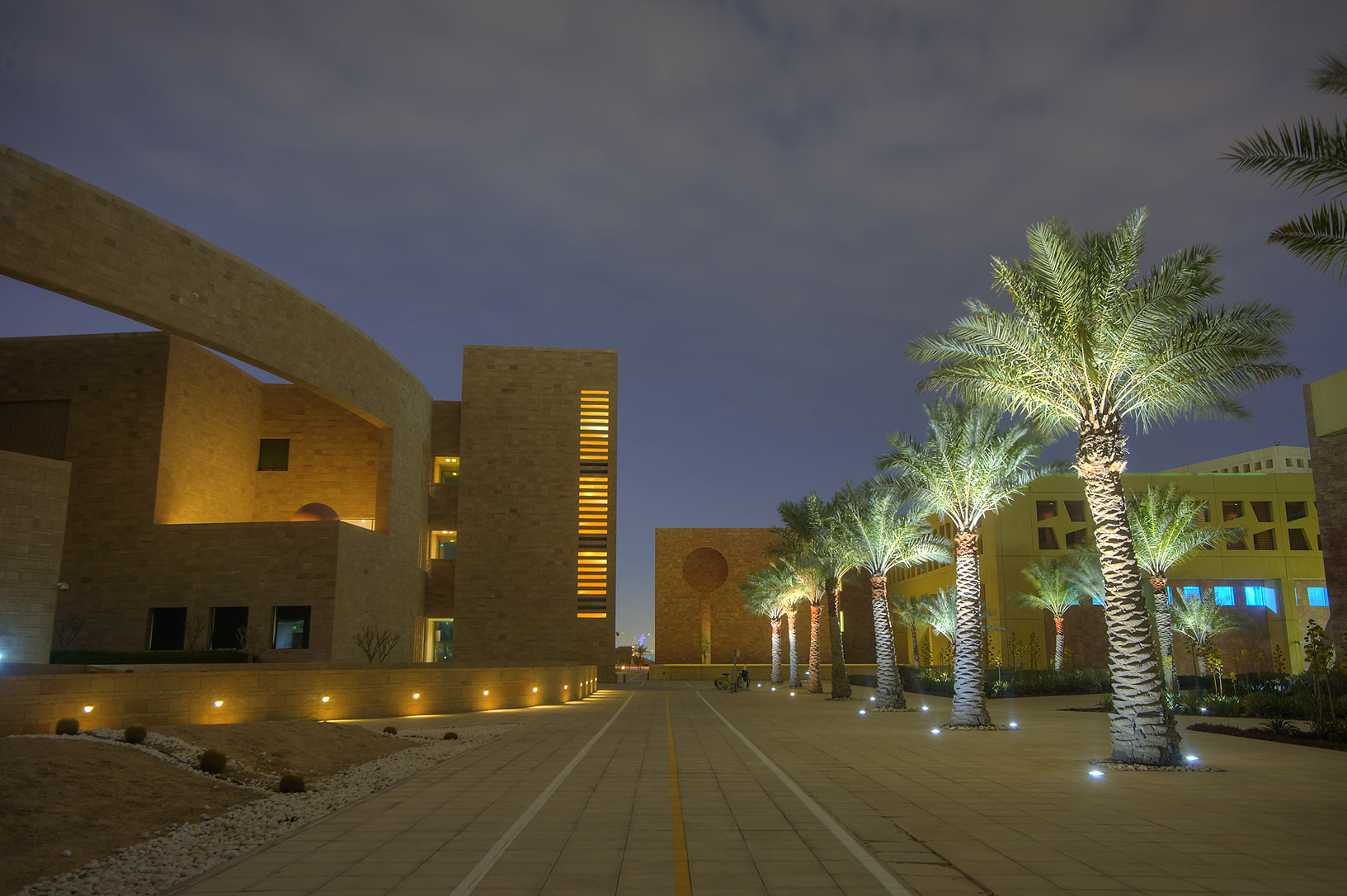 Bicycle lane between Carnegie Melon and Texas A...in Education City campus. Doha, Qatar