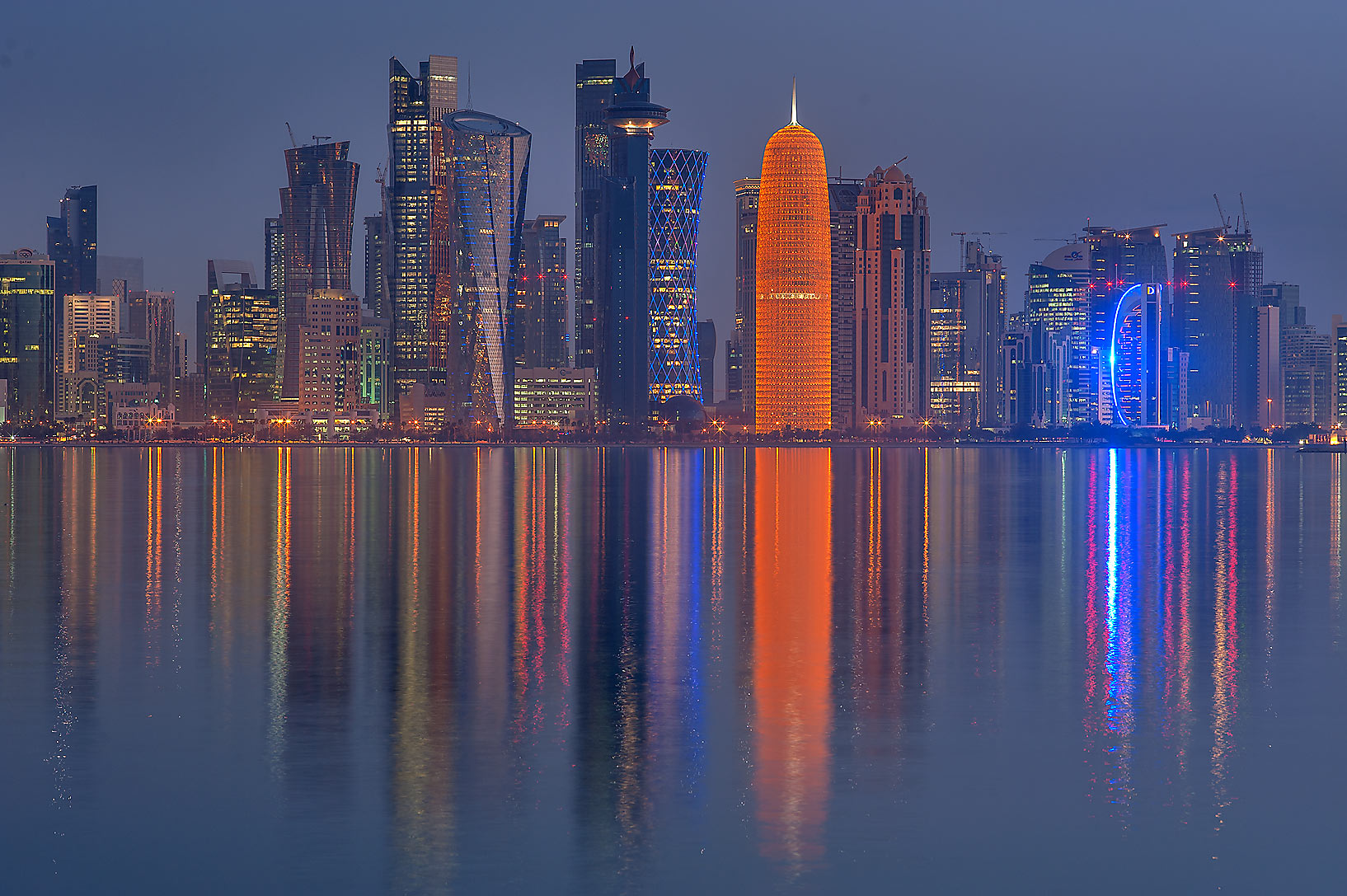 West Bay at morning dusk from Corniche Promenade. Doha, Qatar