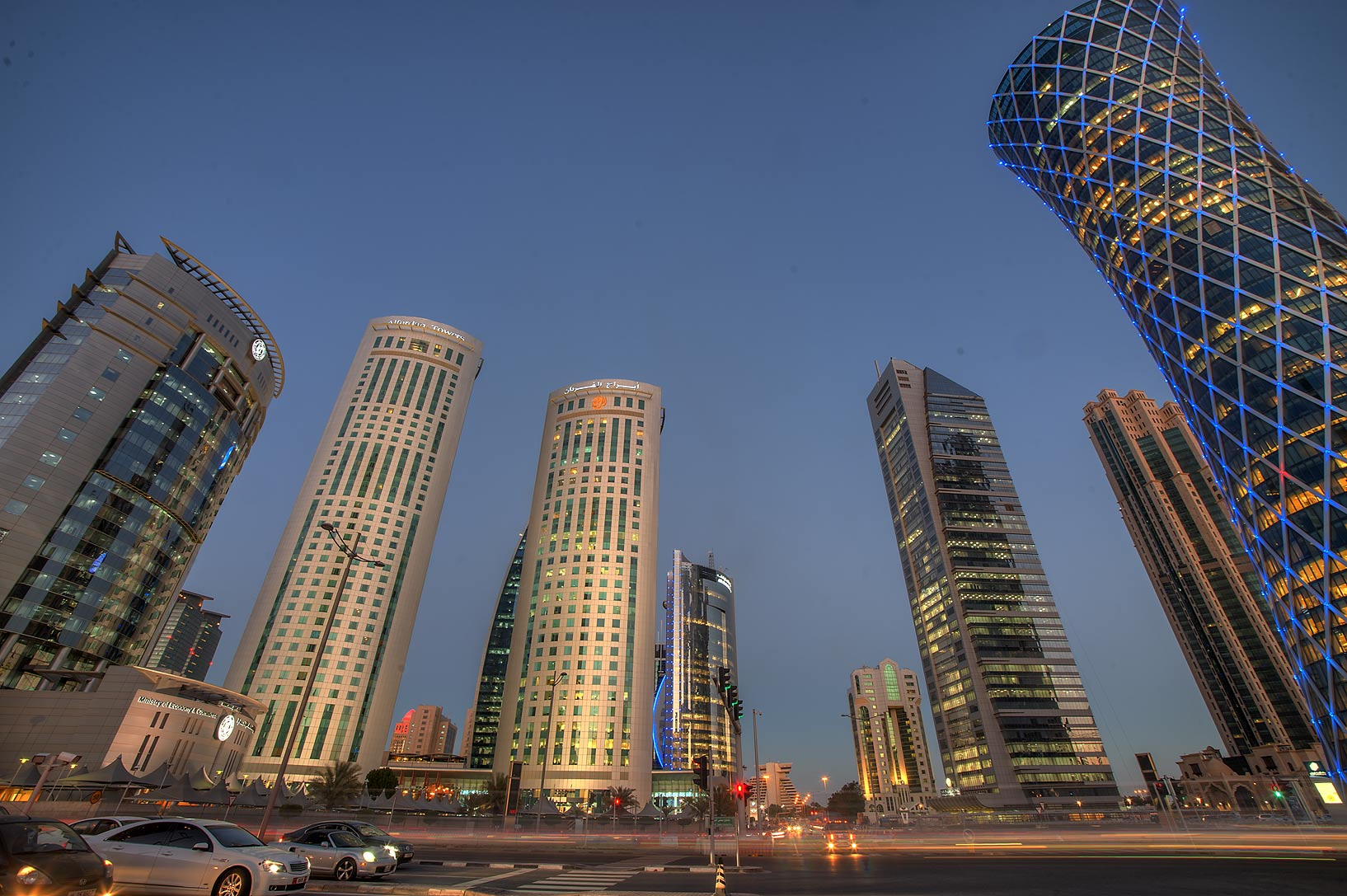 Area of Al Fardan Towers in West Bay from Omar Al Mukhtar St.. Doha, Qatar