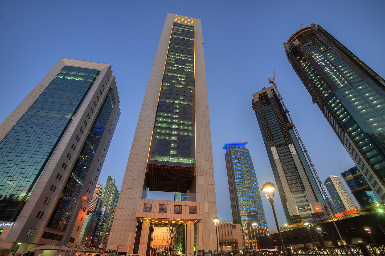 Faisal Tower in West Bay at evening, from Q-Shield head Offices St.. Doha, Qatar