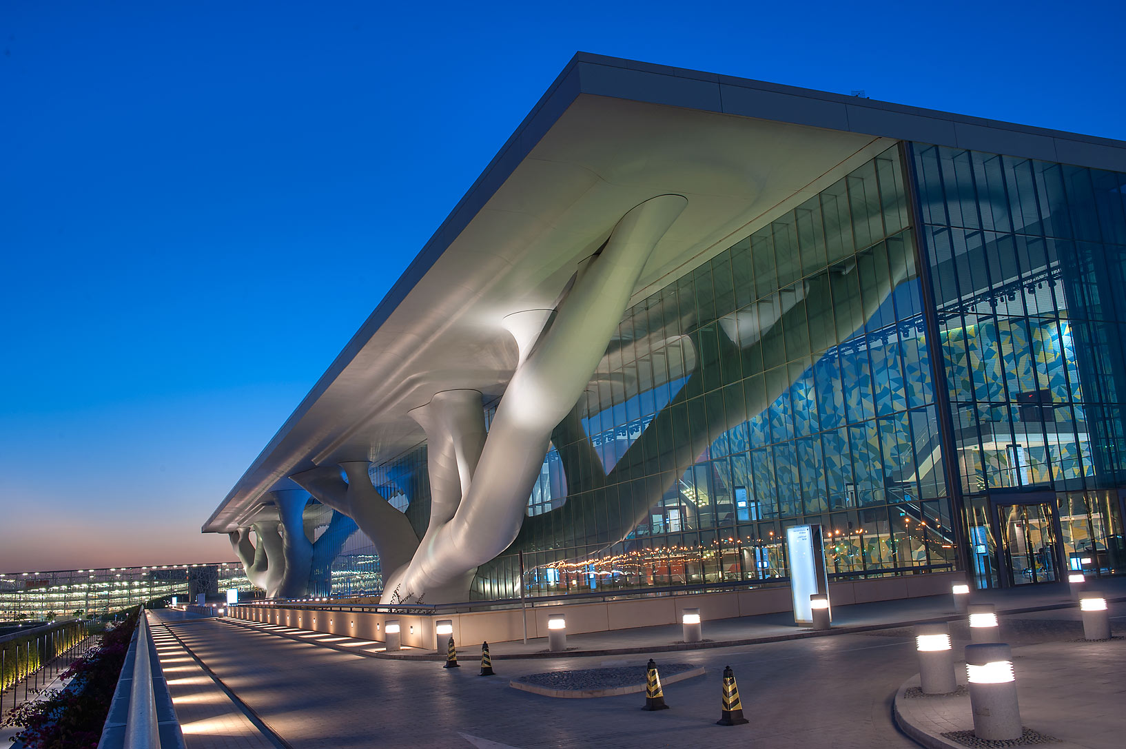 Entrance of National Convention Centre (QNCC) at dusk. Doha, Qatar