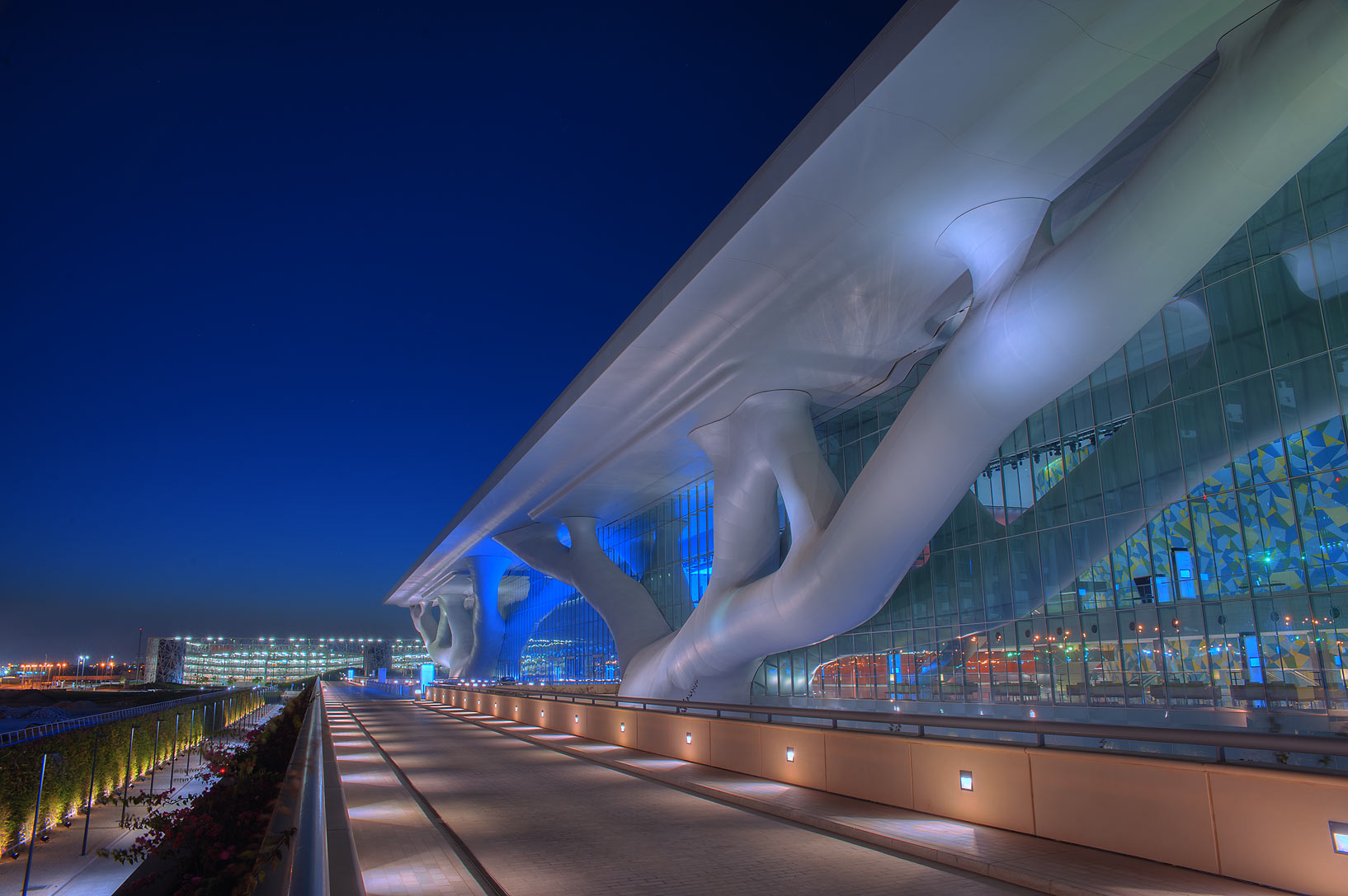 Entrance of National Convention Centre (QNCC) at...supporting the roof. Doha, Qatar