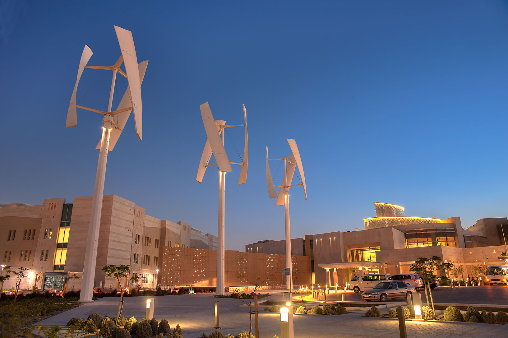 New Student Center on campus of Education City at evening. Doha, Qatar