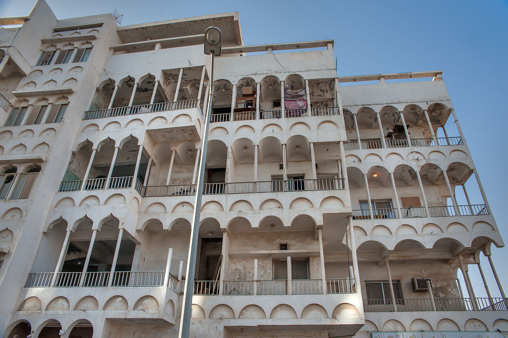 Arched balconies near 55 Al Arab St. in Najma area. Doha, Qatar