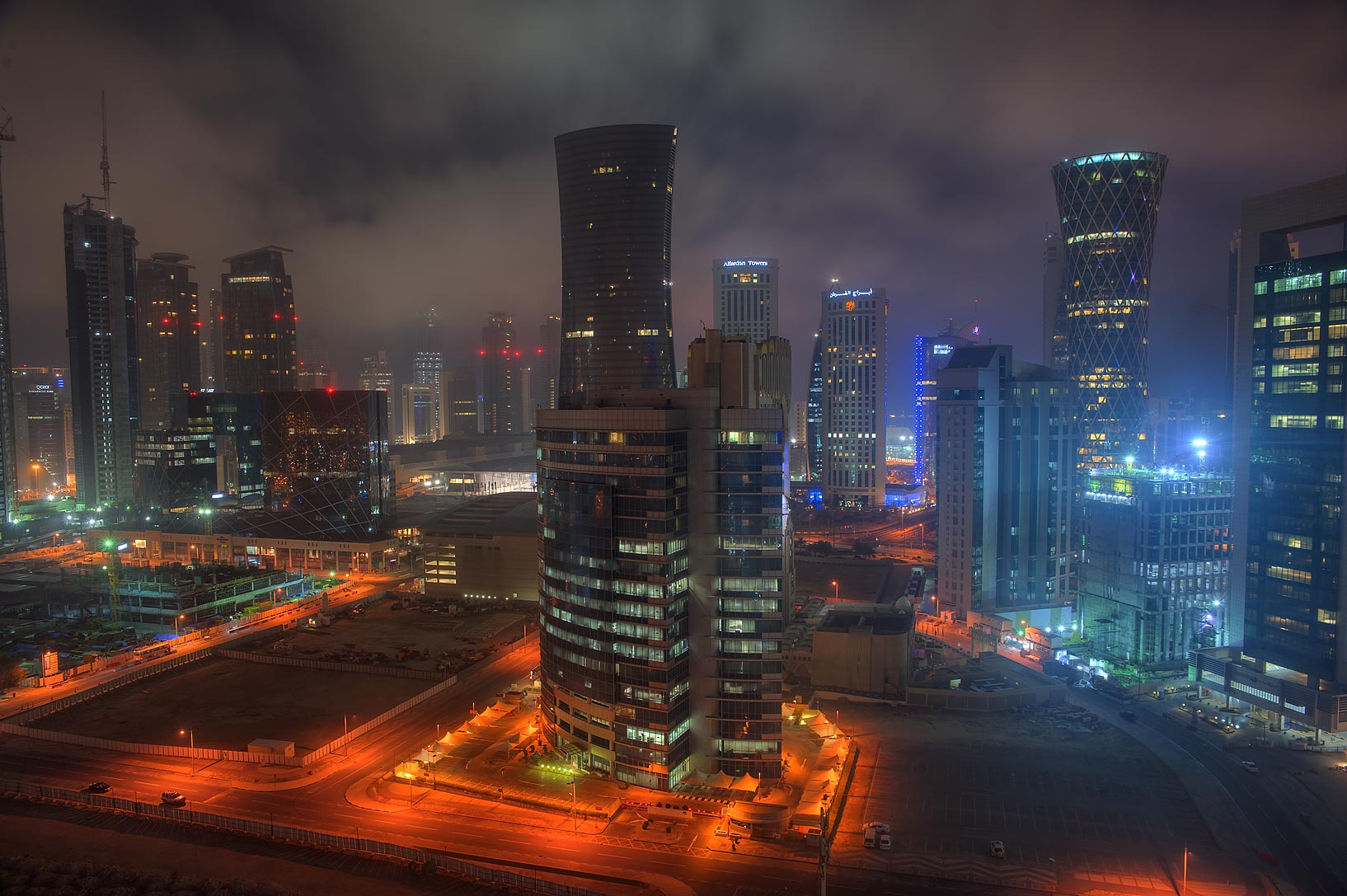 Area of West Bay from Room 1604 of Dareen Tower at morning. Doha, Qatar
