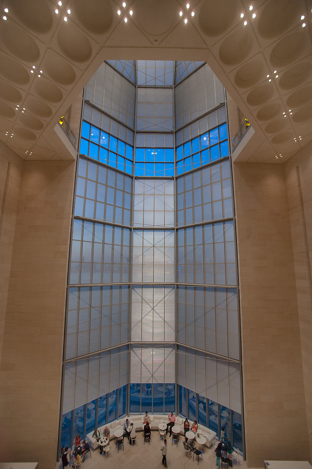 5-storey window of Museum of Islamic Art that...the Gulf and the West Bay. Doha, Qatar