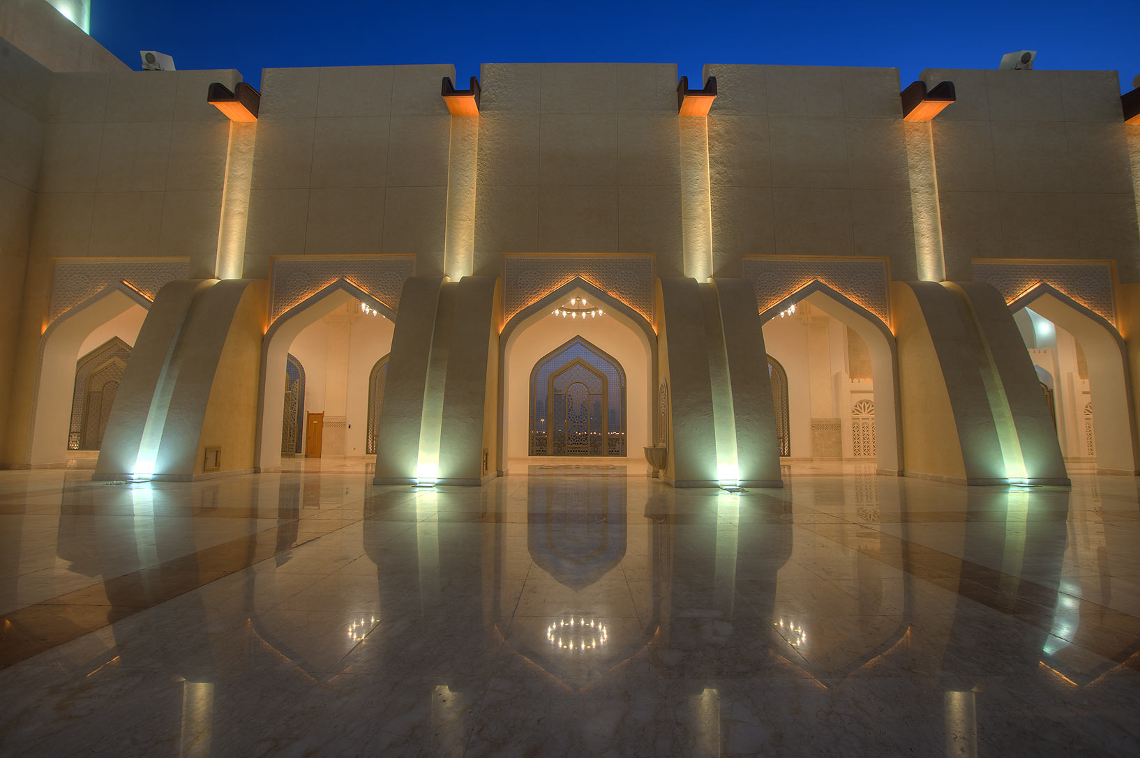 Walls of stone courtyard of State Mosque (Sheikh...Ibn Abdul Wahhab Mosque). Doha, Qatar
