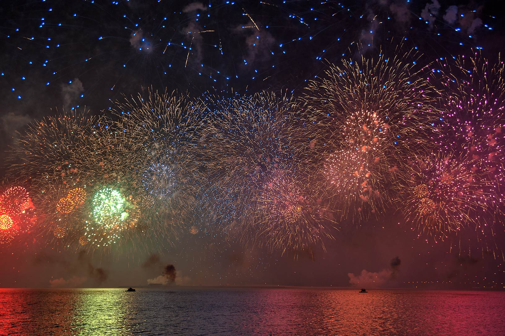 National Day fireworks from Corniche promenade. Doha, Qatar
