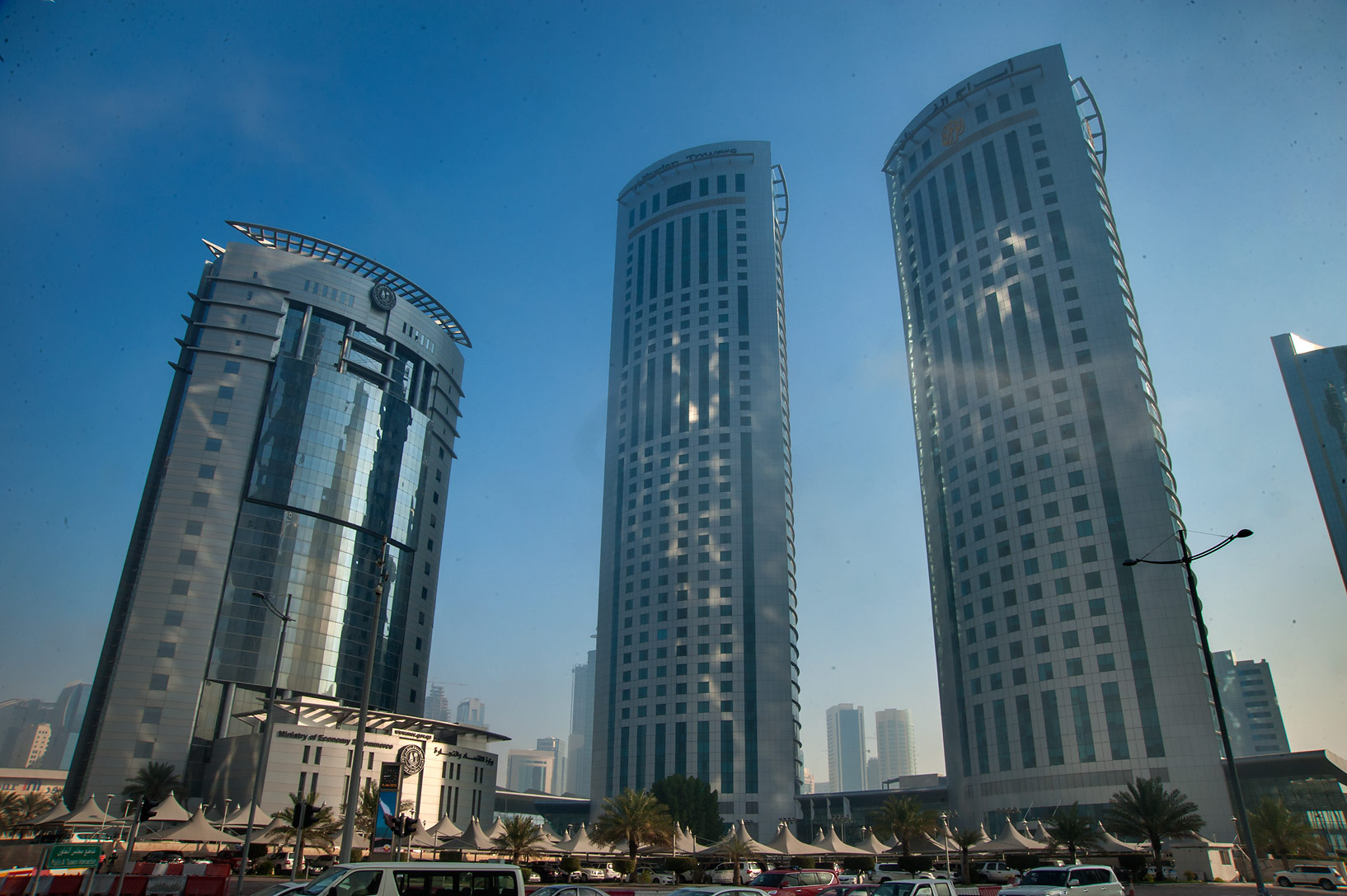 Ministry of Commerce and Twin Al Fardan towers at...Al Taawon St. in West Bay. Doha, Qatar