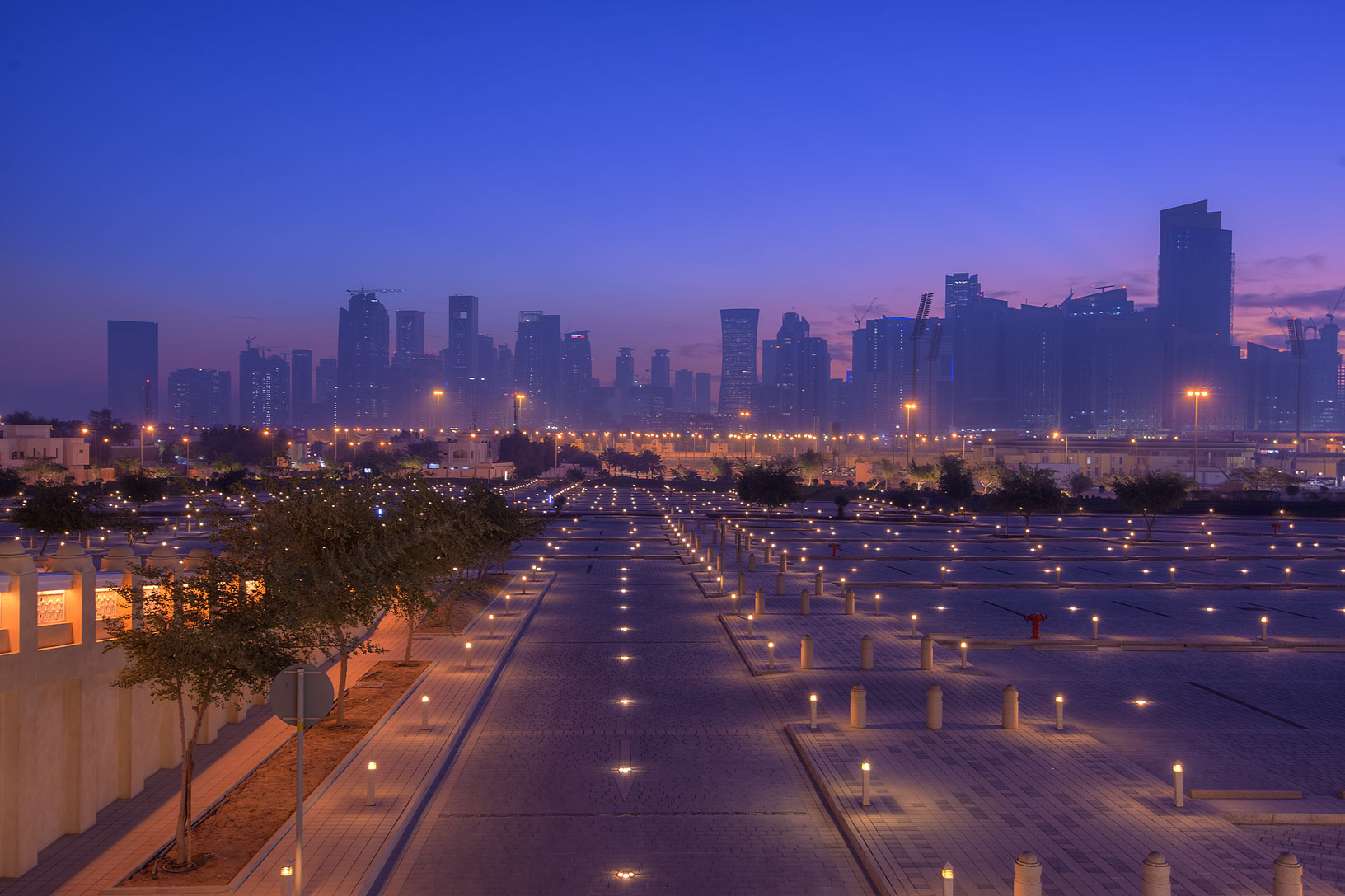 View of West Bay from State Mosque (Sheikh...Wahhab Mosque) at morning. Doha, Qatar