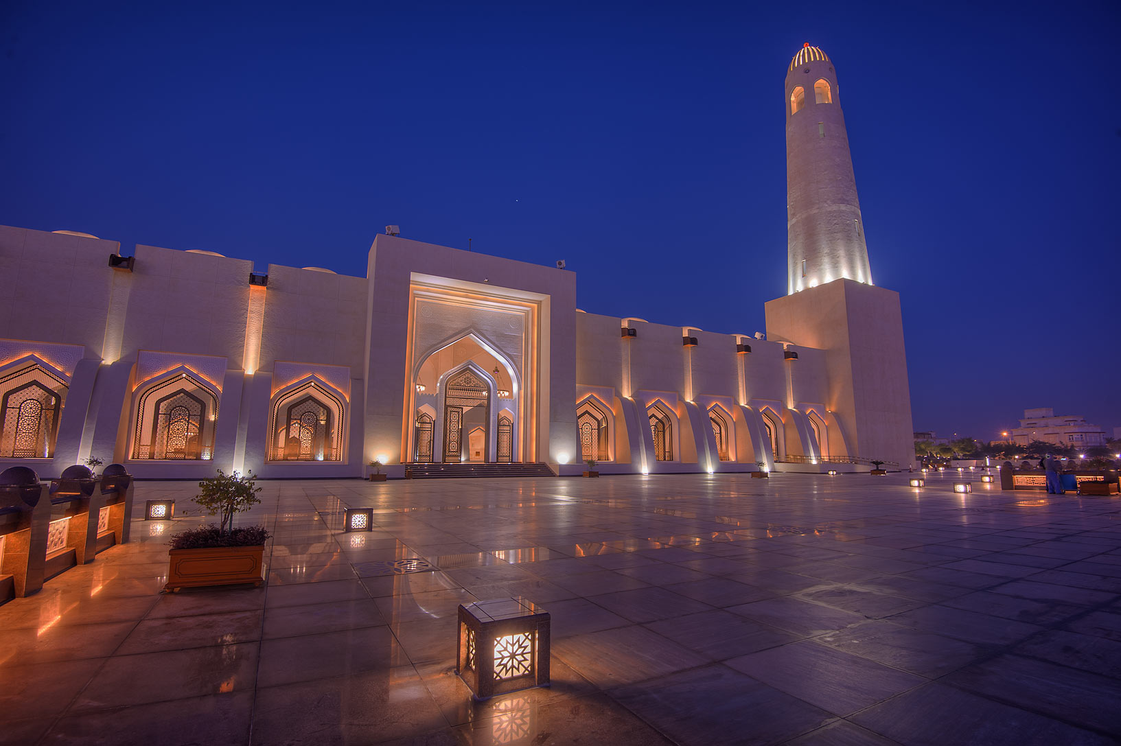 Back side of State Mosque (Sheikh Muhammad Ibn...Wahhab Mosque) at morning. Doha, Qatar