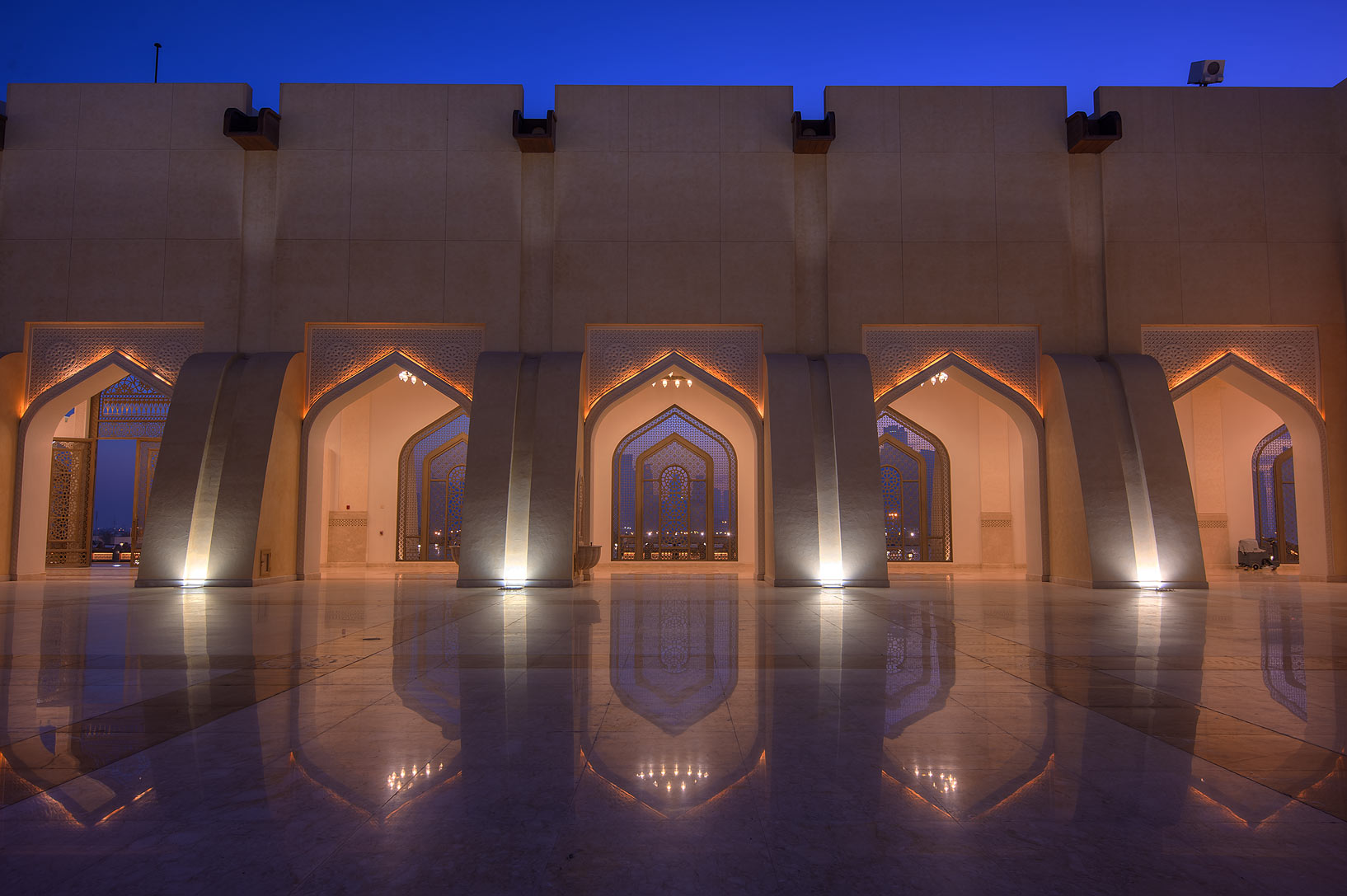 Walls of stone courtyard of State Mosque (Sheikh...Wahhab Mosque) at morning. Doha, Qatar