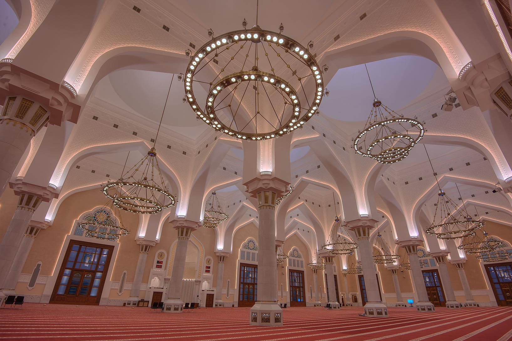 Arches of prayer hall of State Mosque (Sheikh...Wahhab Mosque) at morning. Doha, Qatar