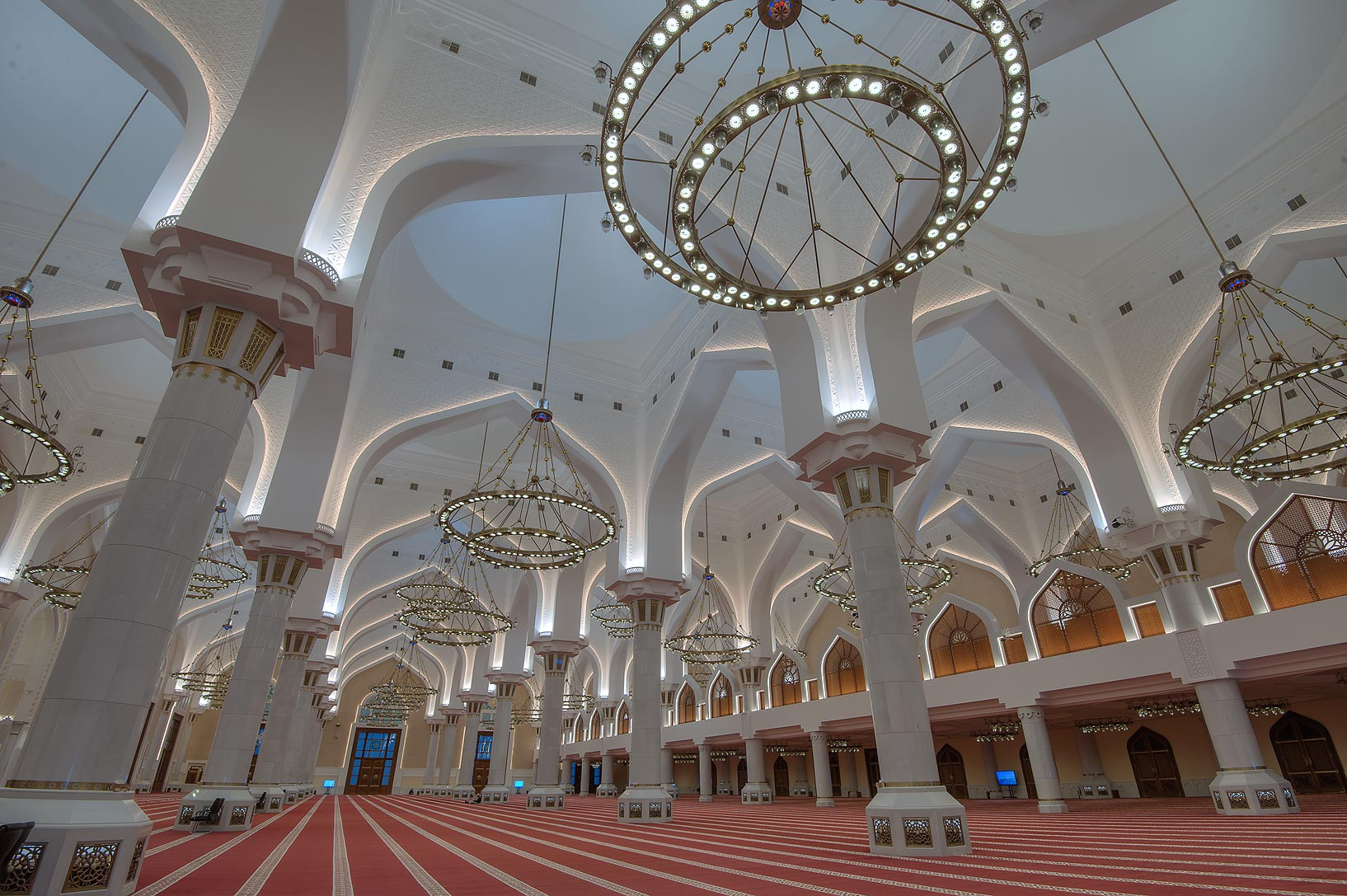 Domed structure of prayer hall (musallah) of...Wahhab Mosque) at morning. Doha, Qatar
