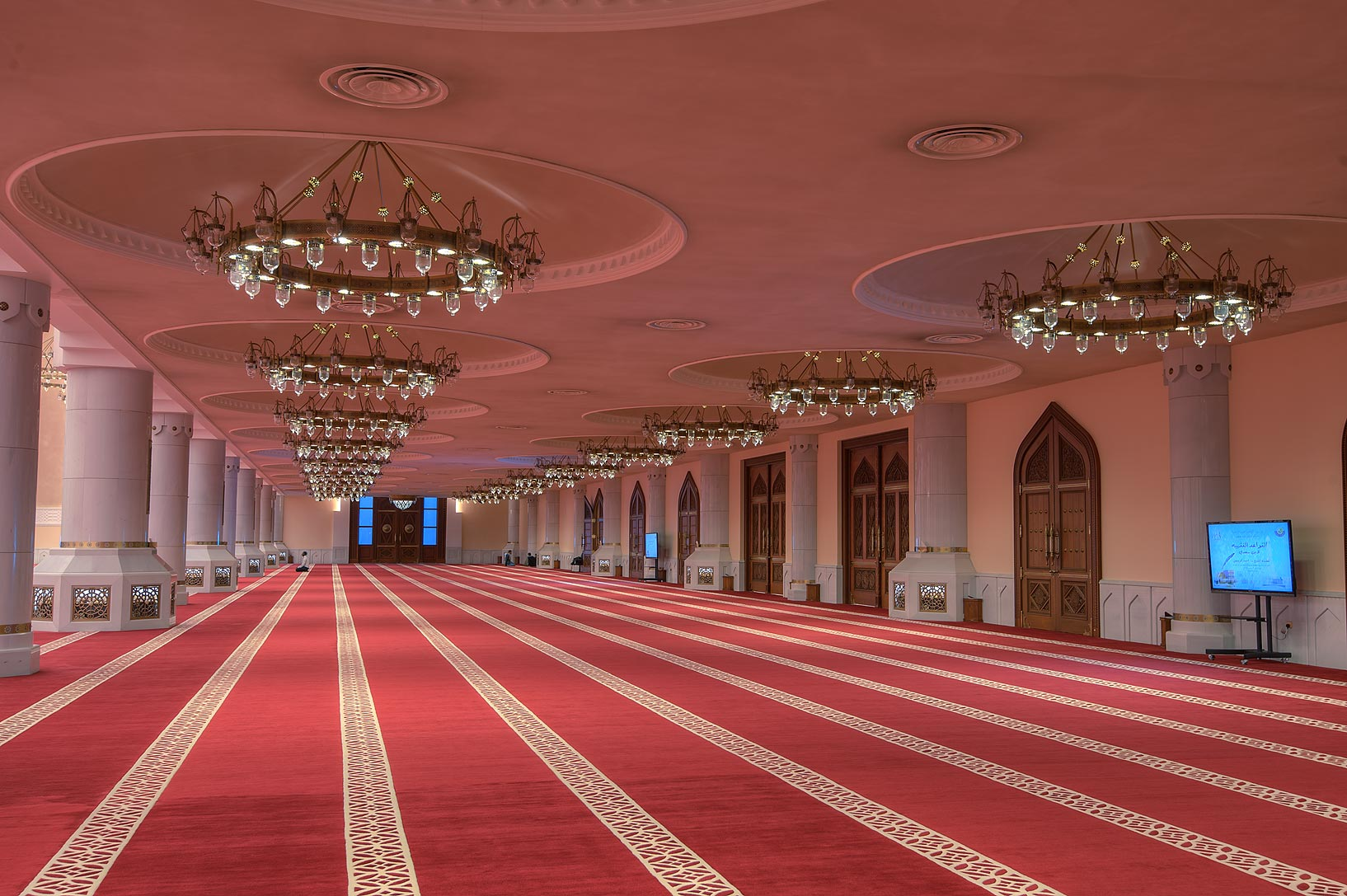 Entrance side of prayer hall of State Mosque...Wahhab Mosque) at morning. Doha, Qatar