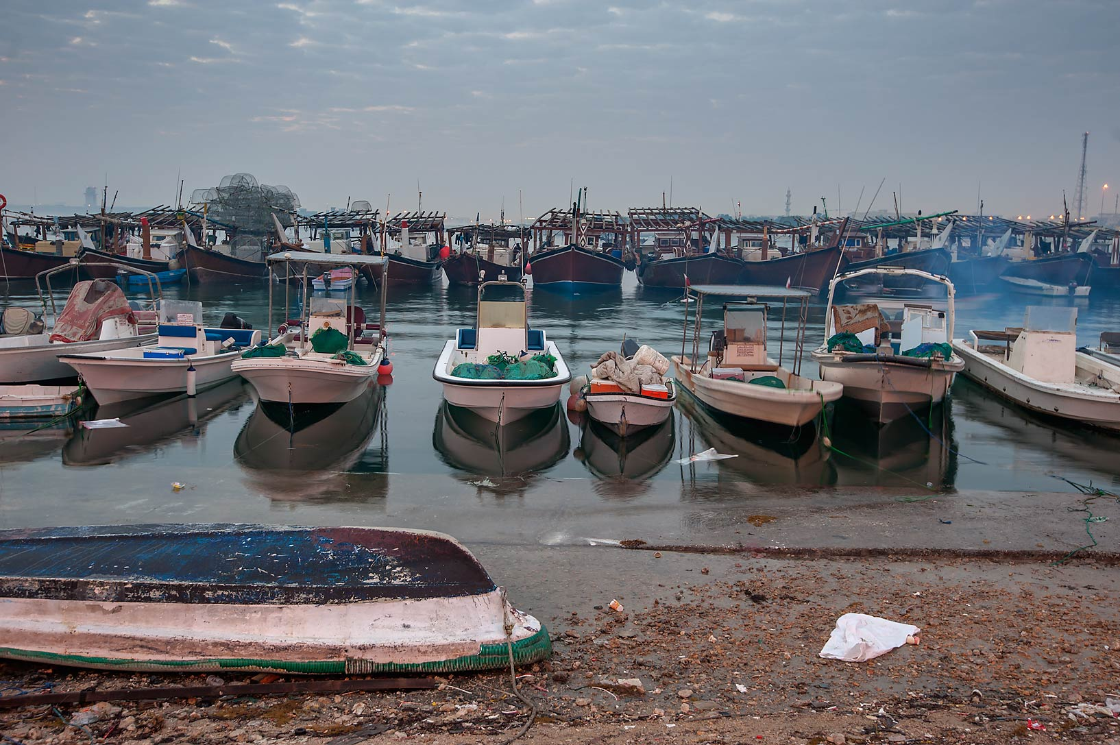 Boats at Al Wakra port at morning. Qatar