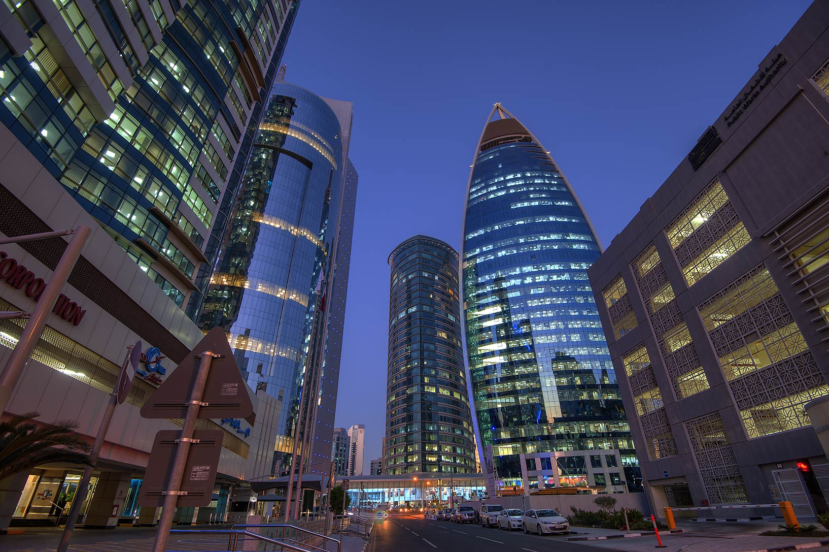 Area of Woqod Tower in West Bay. Doha, Qatar