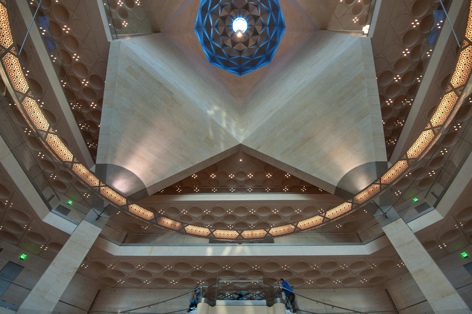 Perforated chandelier and faceted dome of Museum of Islamic Art. Doha, Qatar