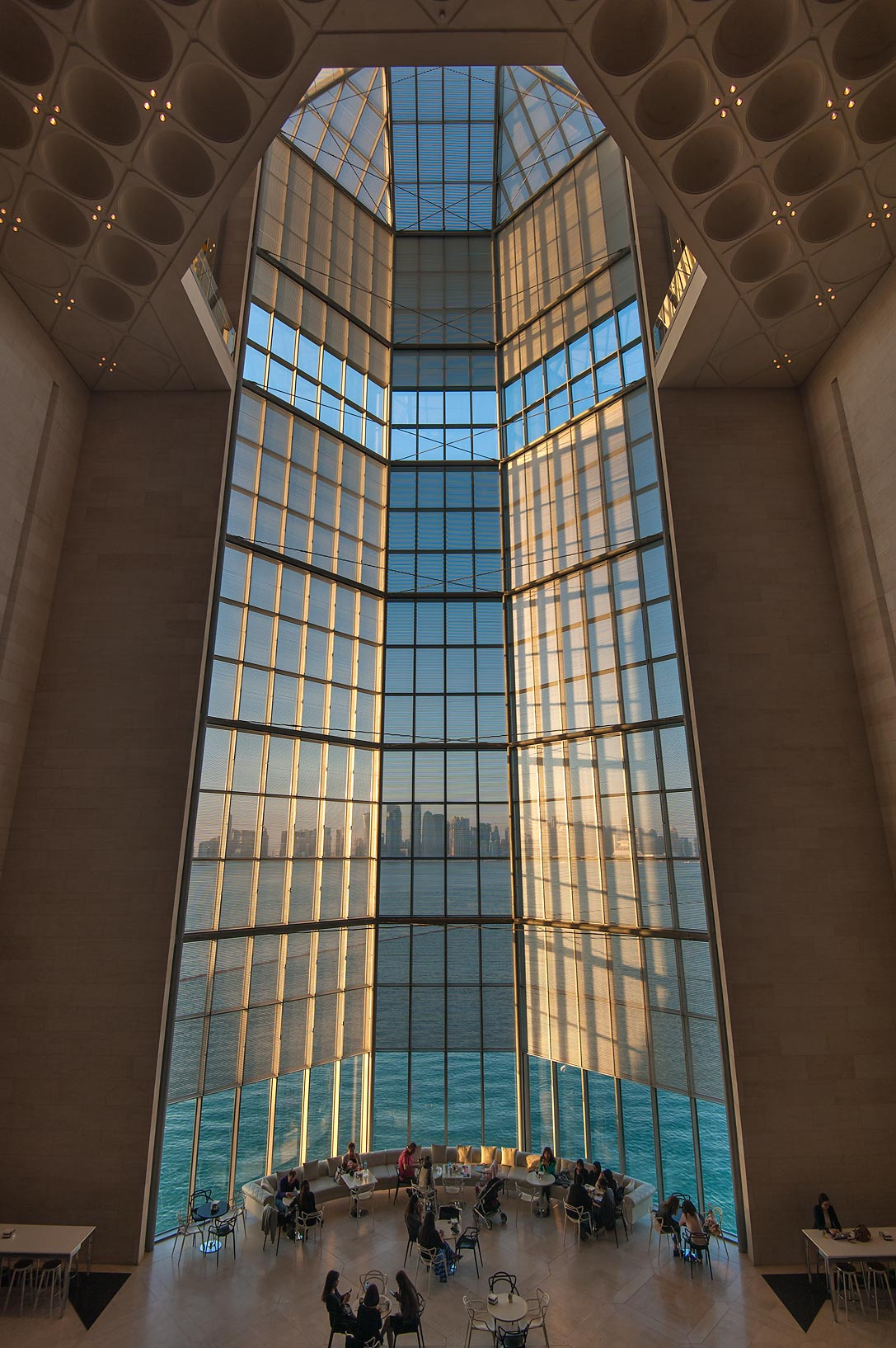 Grand window of Museum of Islamic Art, view from the first floor. Doha, Qatar