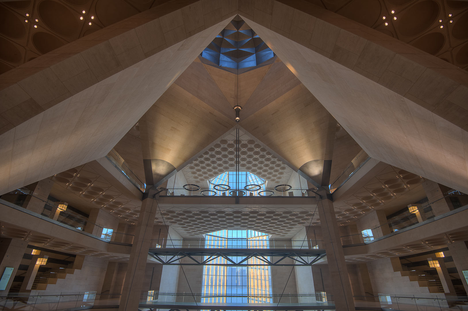 Domed structure of Museum of Islamic Art, view from the second floor. Doha, Qatar