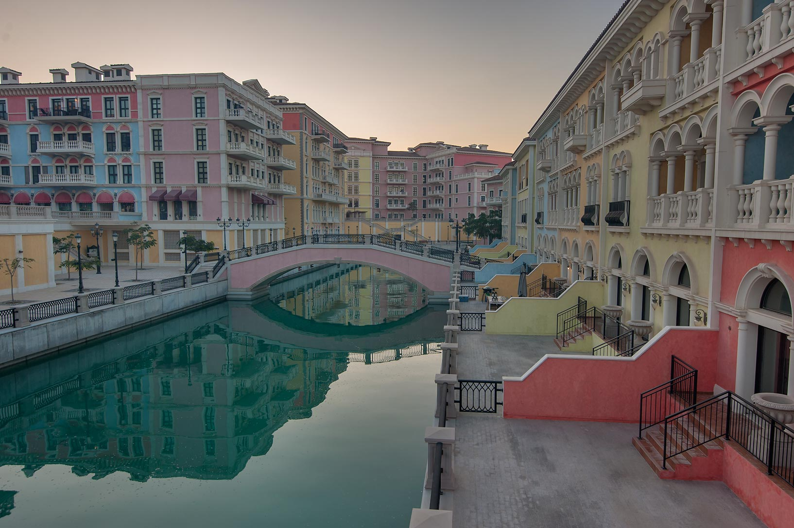 A canal and a foot bridge in Qanat Quartier...Pearl Development Project, Doha, Qatar